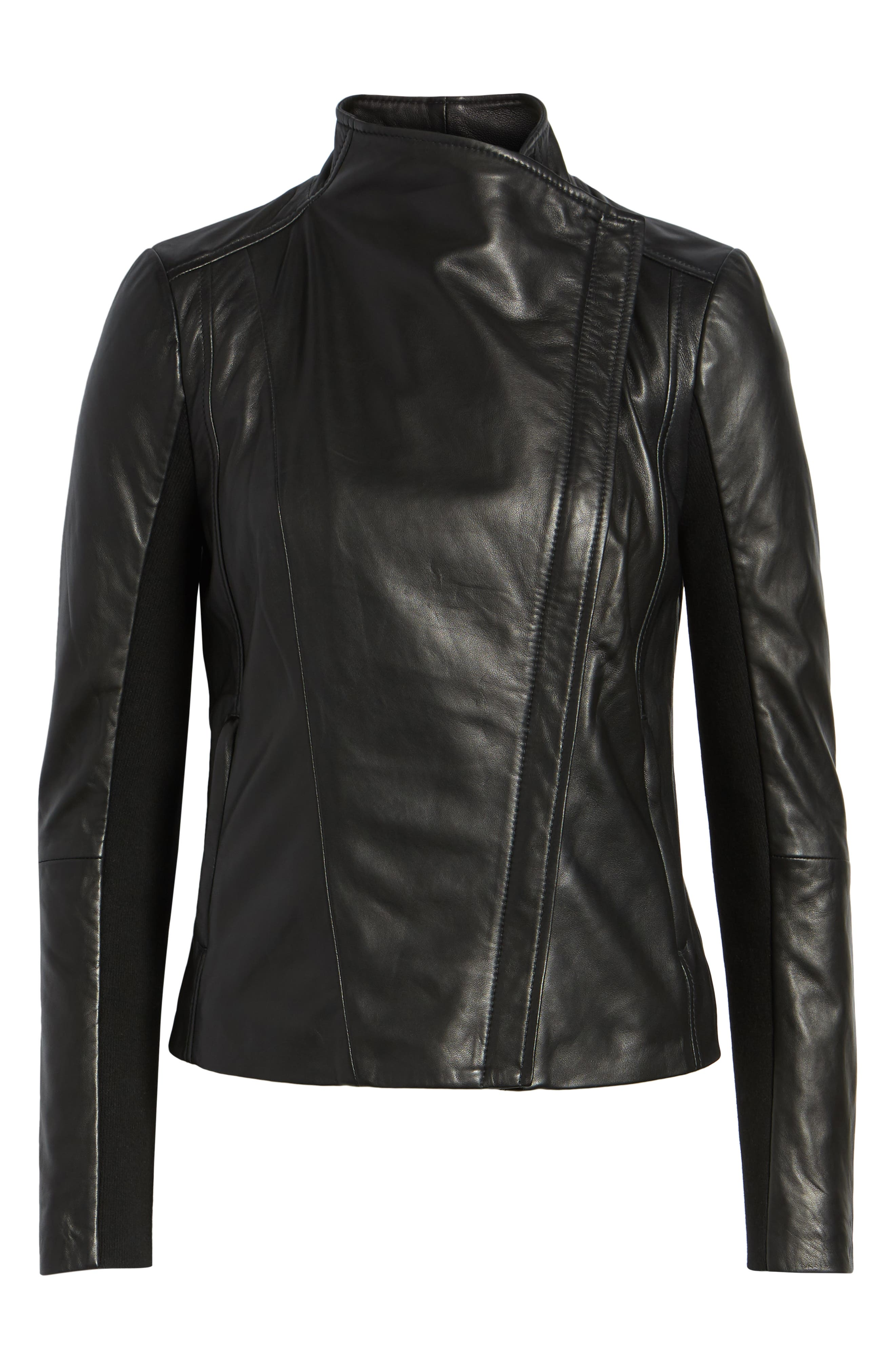 CHELSEA28, Leather Moto Jacket, Alternate thumbnail 6, color, BLACK