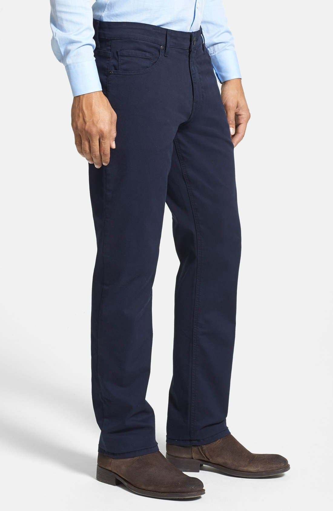 PAIGE, Normandie Slim Straight Leg Twill Pants, Alternate thumbnail 4, color, NAVY CADET