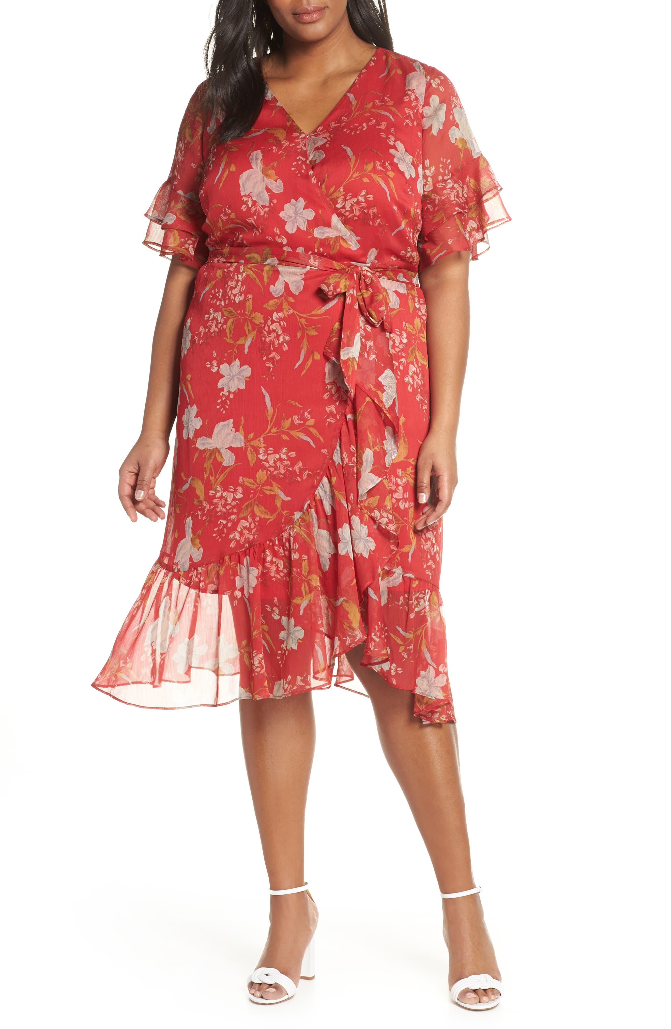 1930s Art Deco Plus Size Dresses   Tea Dresses, Party Dresses Plus Size Womens Vince Camuto Wildflower Tiered Ruffle Chiffon Dress Size 24W - Red $179.00 AT vintagedancer.com