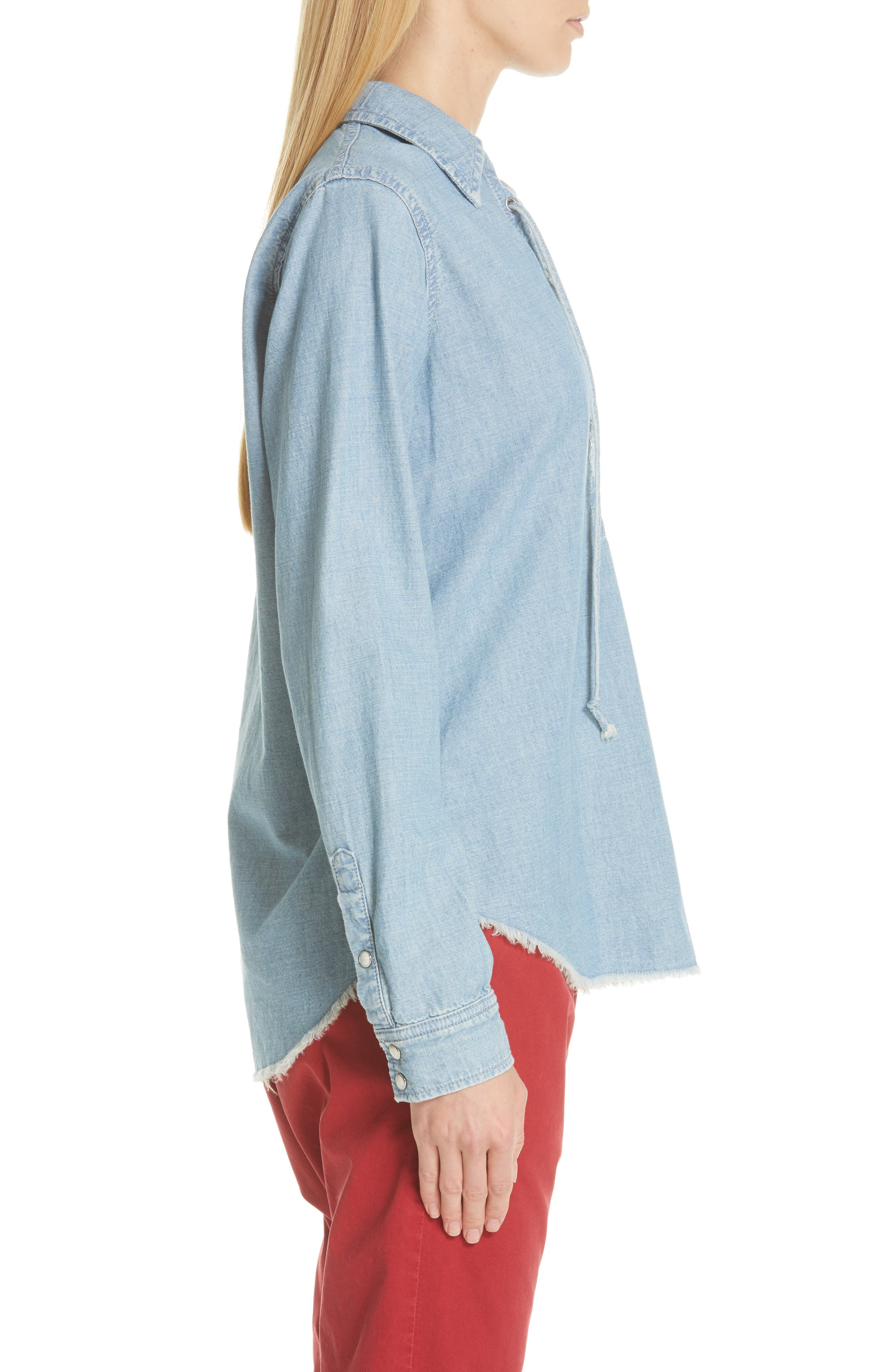 NILI LOTAN, Mallory Chambray Shirt, Alternate thumbnail 3, color, SKY BLUE