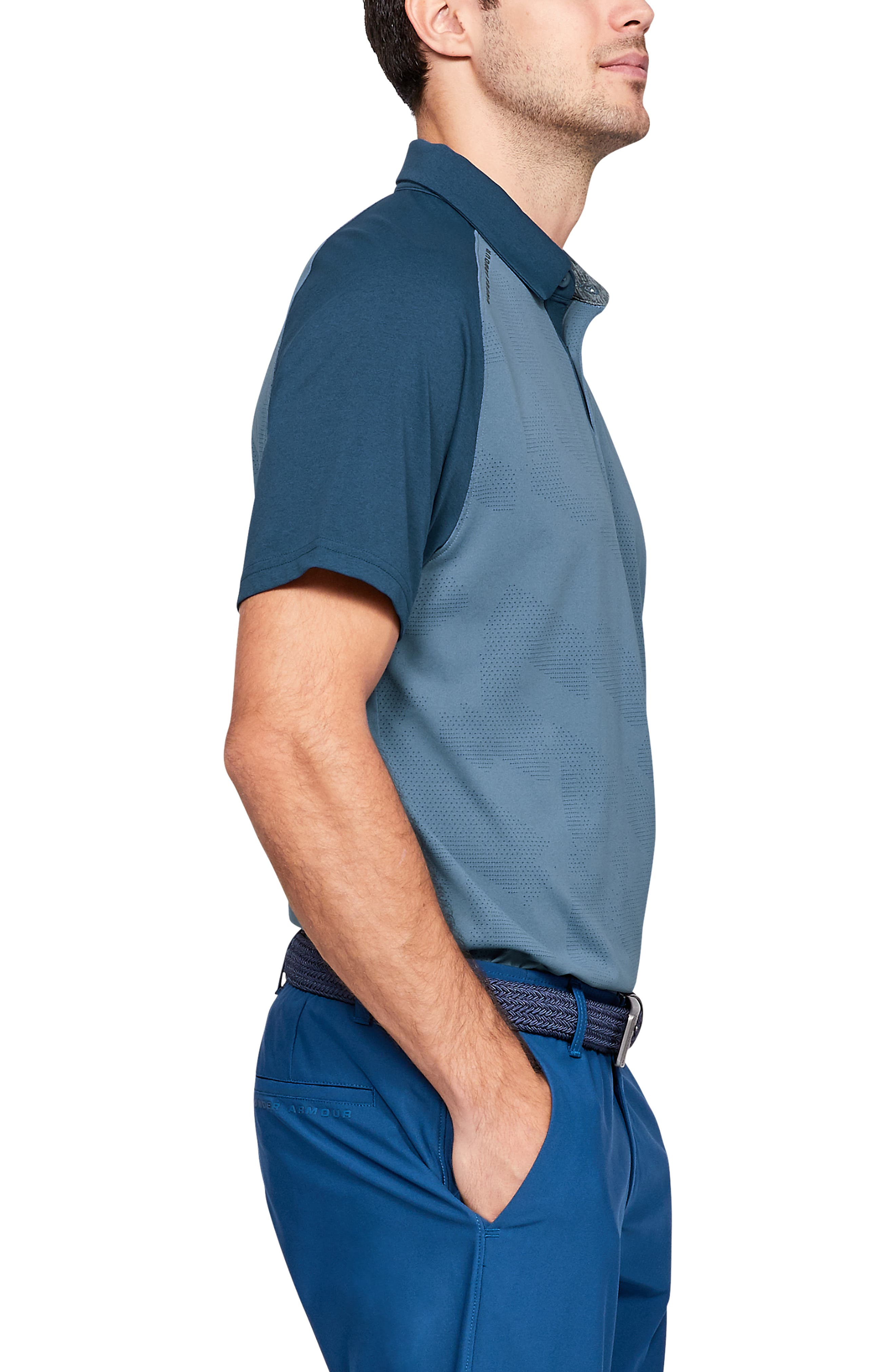 UNDER ARMOUR, Tour Tips Champion Loose Polo, Alternate thumbnail 3, color, THUNDER / / PITCH GRAY