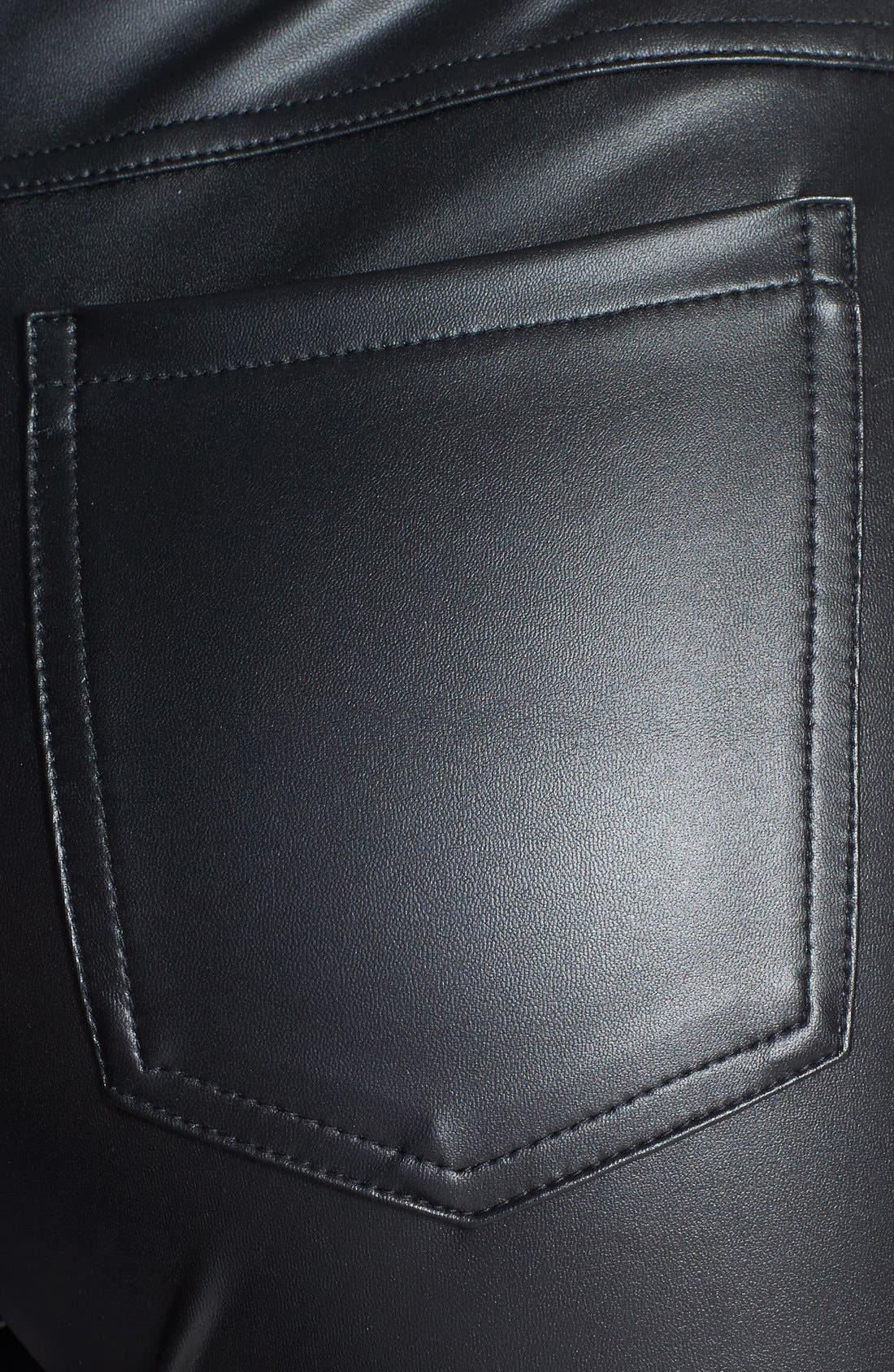 HUE, 'Leatherette' Leggings, Alternate thumbnail 3, color, 001