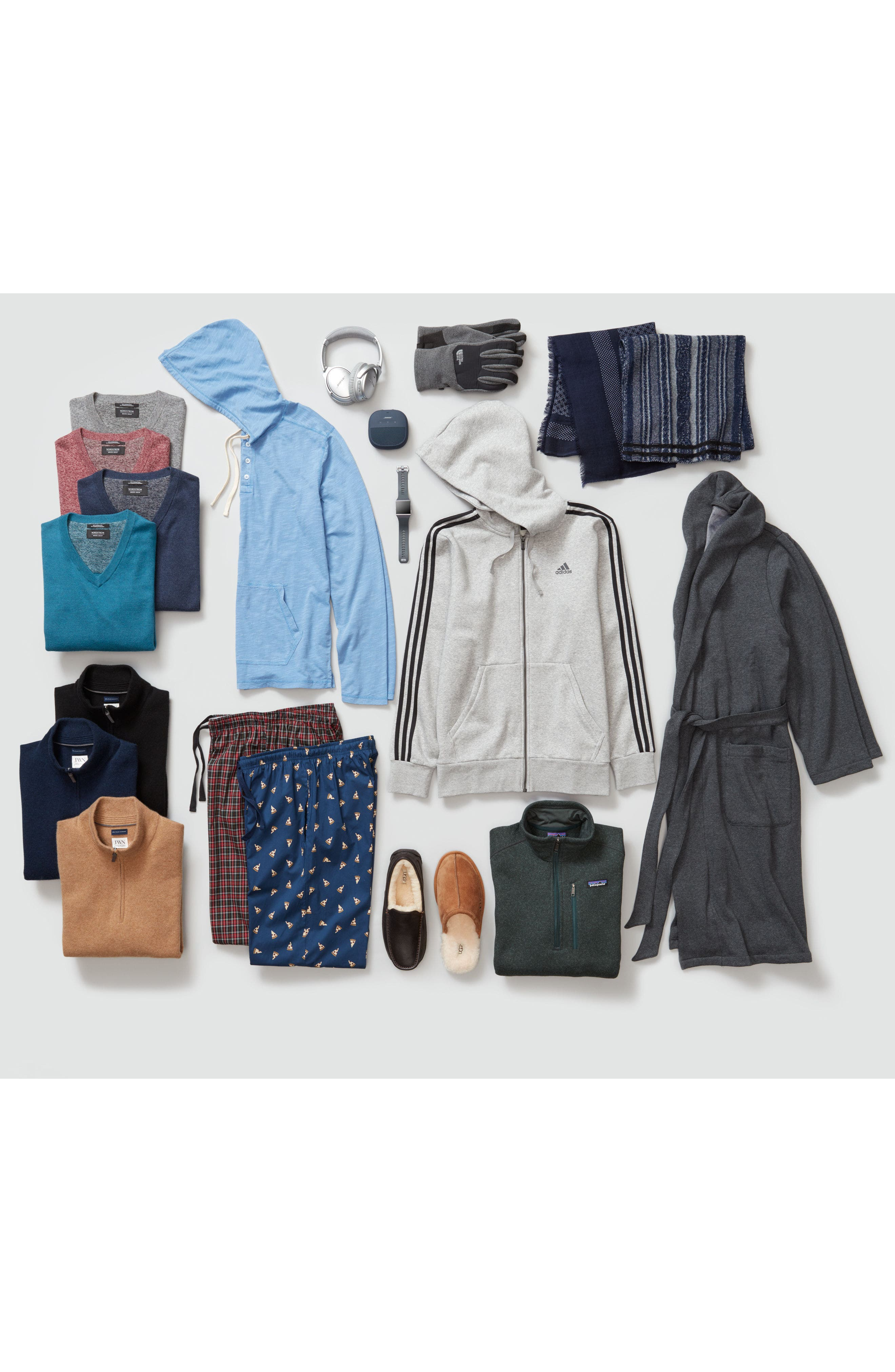 NORDSTROM MEN'S SHOP, Cotton & Cashmere V-Neck Sweater, Alternate thumbnail 8, color, BLUE CAMP MARL