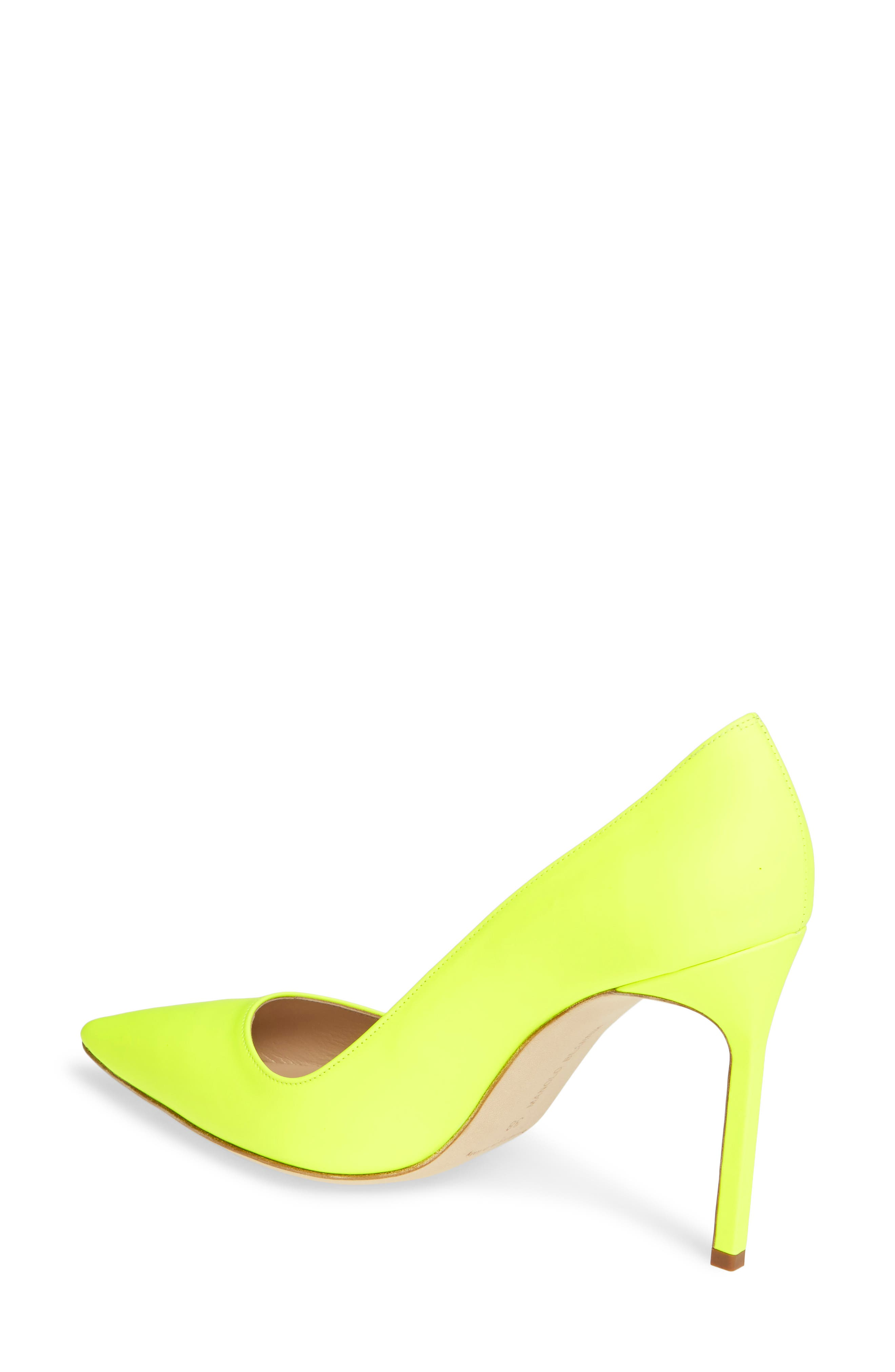 MANOLO BLAHNIK, 'BB' Pointy Toe Pump, Alternate thumbnail 2, color, YELLOW PATENT