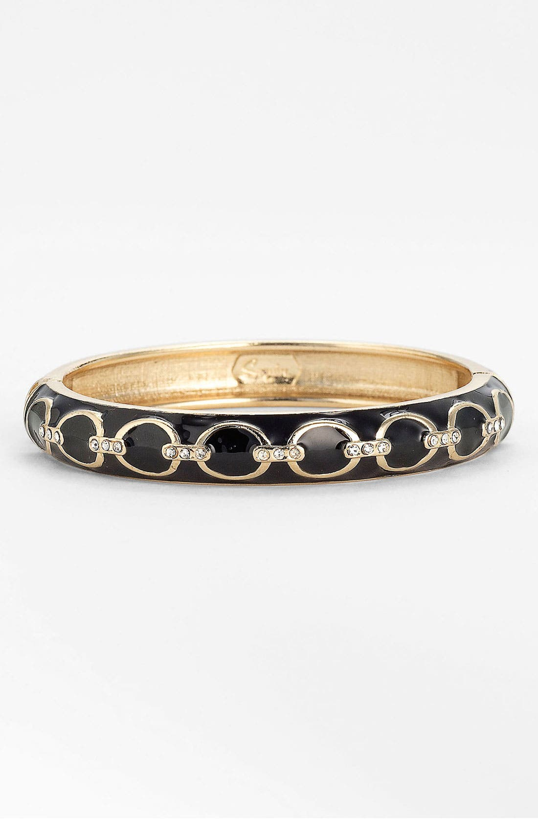 SEQUIN 'Deco Equestrian Link' Hinged Bangle, Main, color, 001