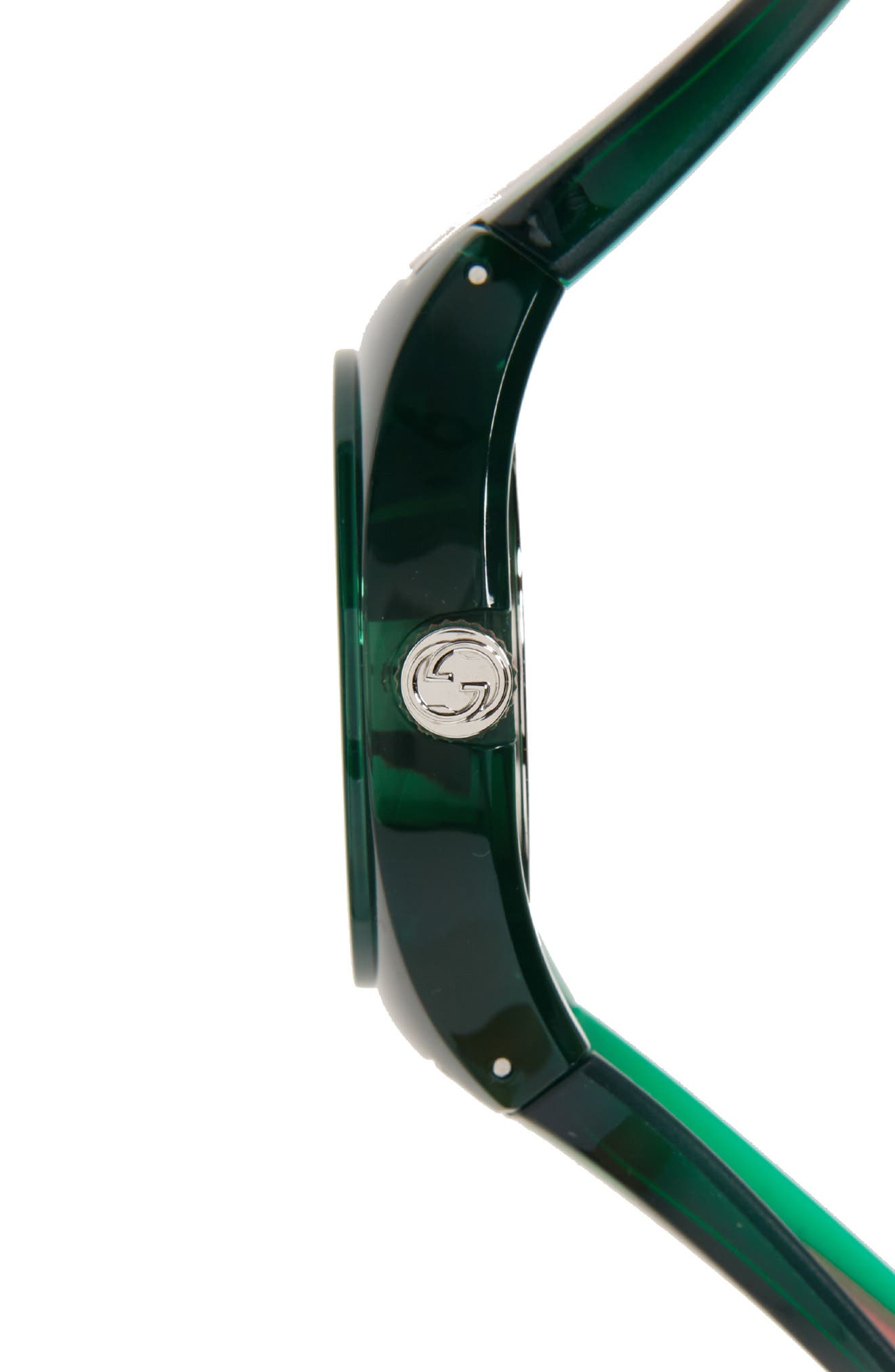 GUCCI, Sync Transparent Rubber Strap Watch, 46mm, Alternate thumbnail 3, color, GREEN