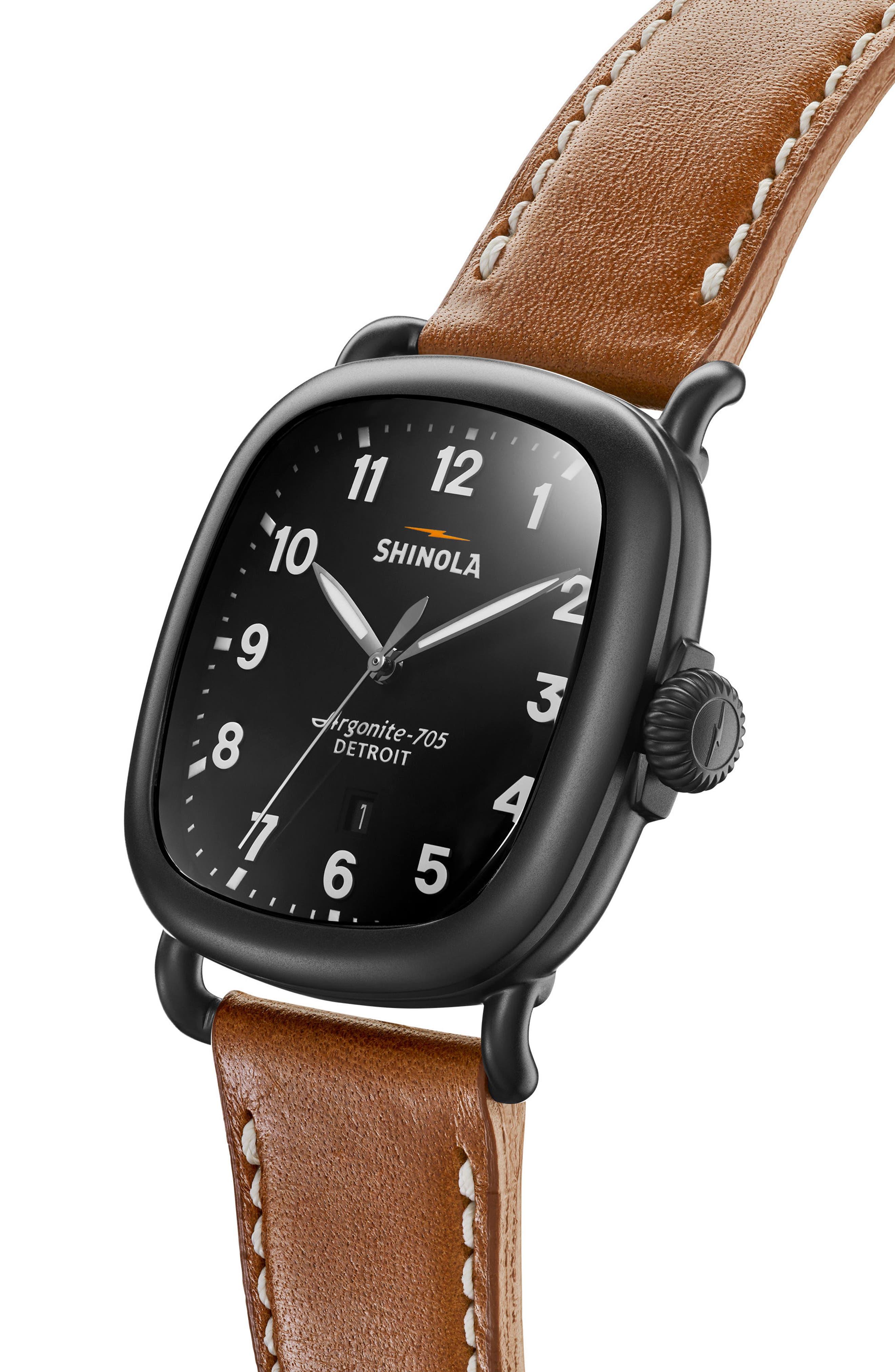 SHINOLA, Guardian Leather Strap Watch, 41mm, Alternate thumbnail 4, color, TAN/ BLACK