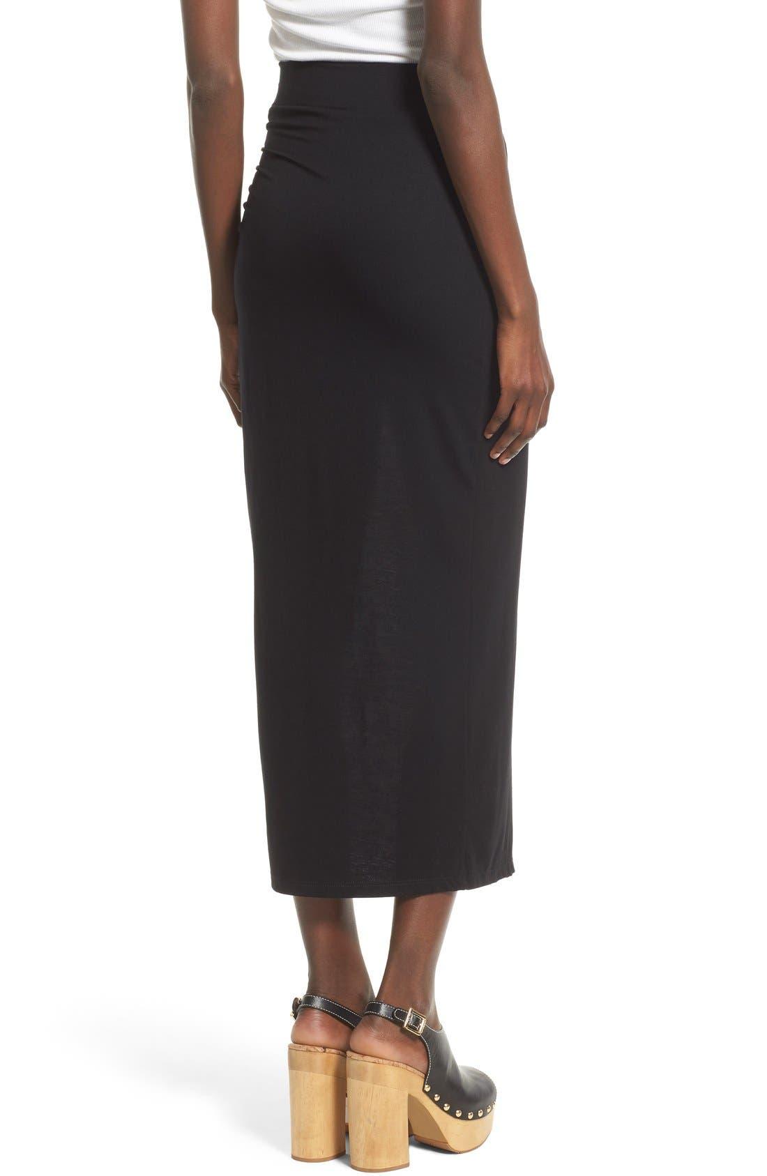 ASTR THE LABEL, ASTR High Slit Maxi Skirt, Alternate thumbnail 4, color, 001