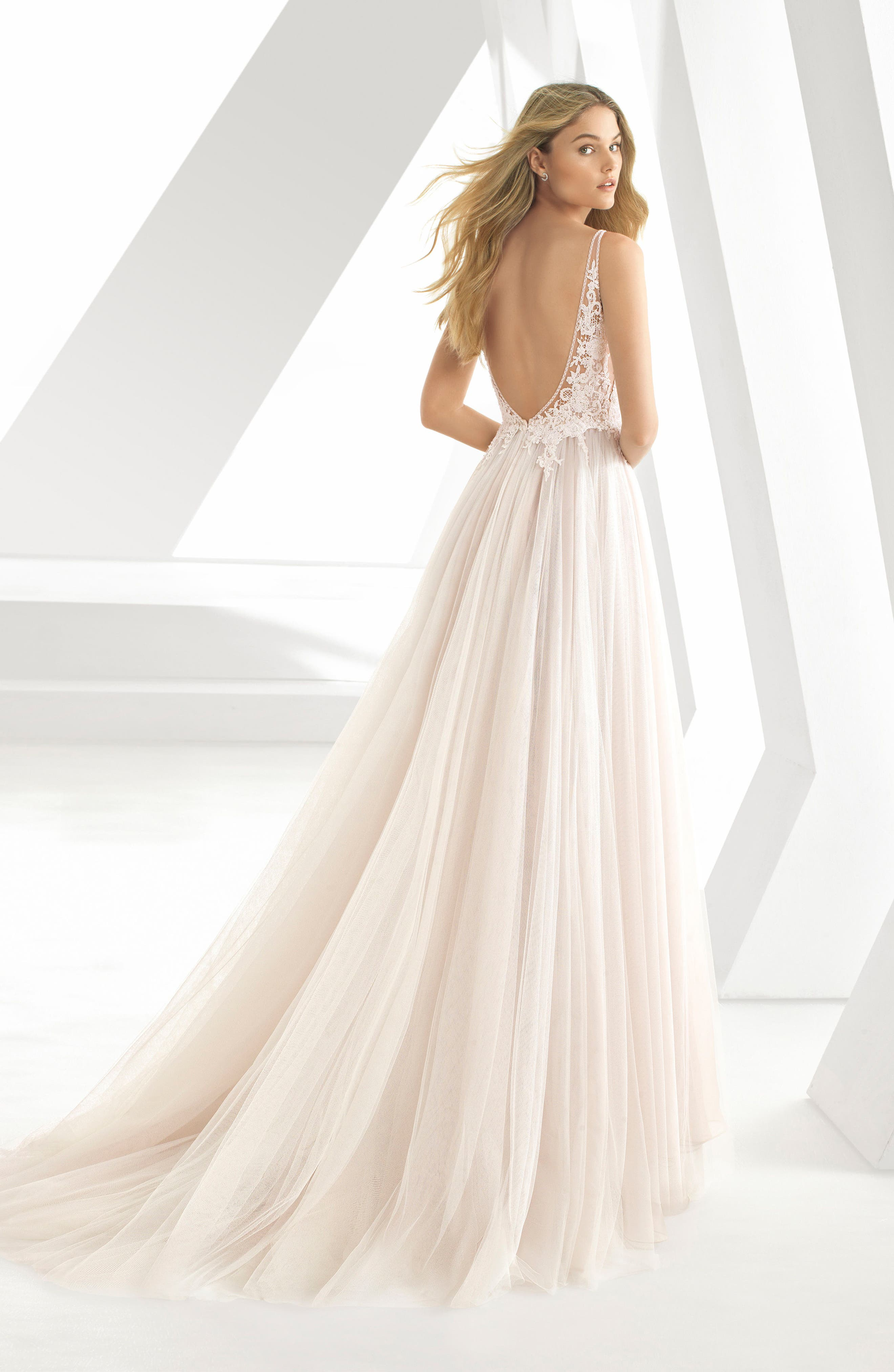 ROSA CLARÁ, Donata Front Slit Lace & Tulle Wedding Gown, Alternate thumbnail 2, color, NATURAL/ NUDE
