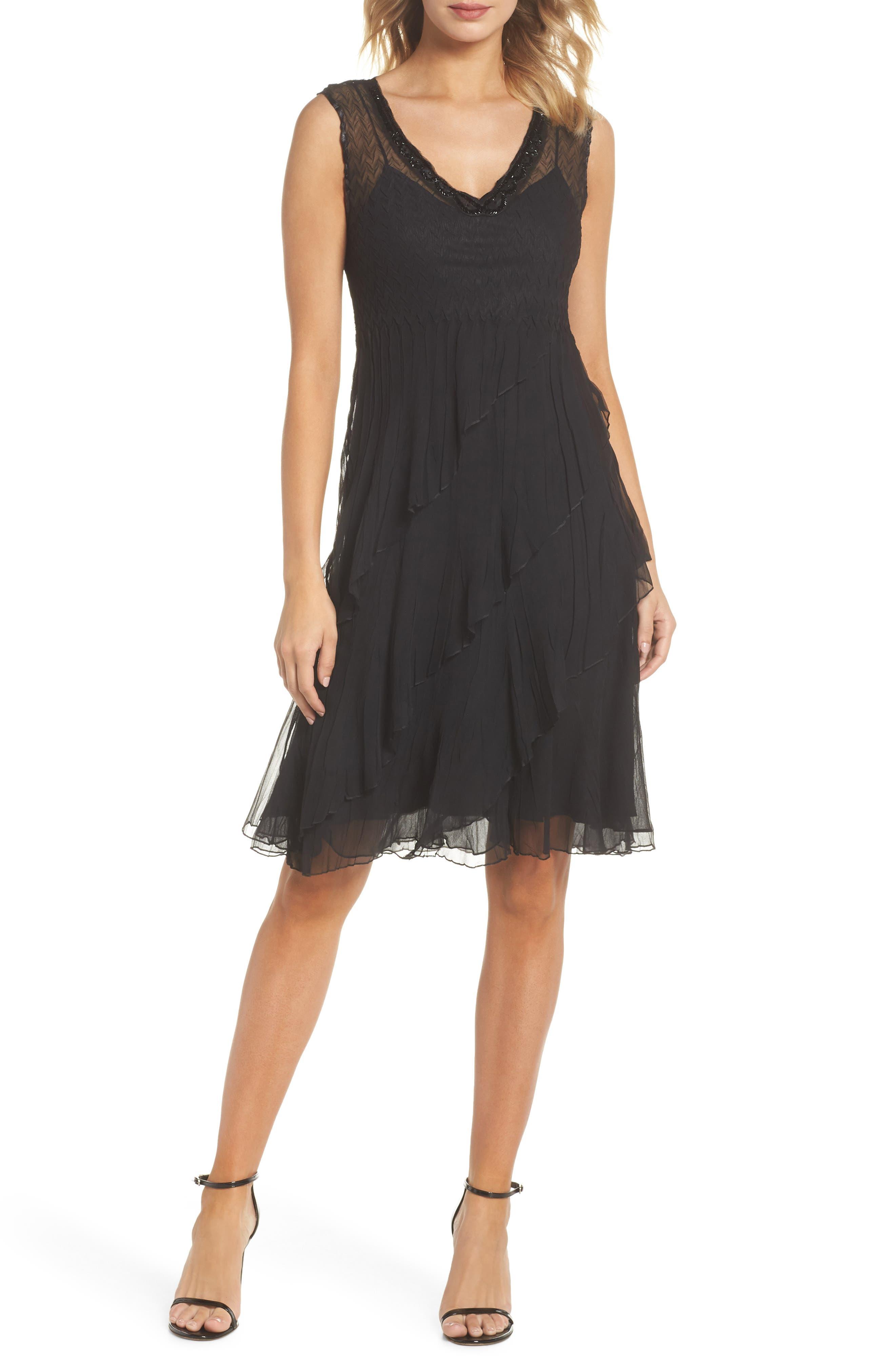 KOMAROV, Bead Trim Chiffon Dress with Wrap, Alternate thumbnail 5, color, BLACK