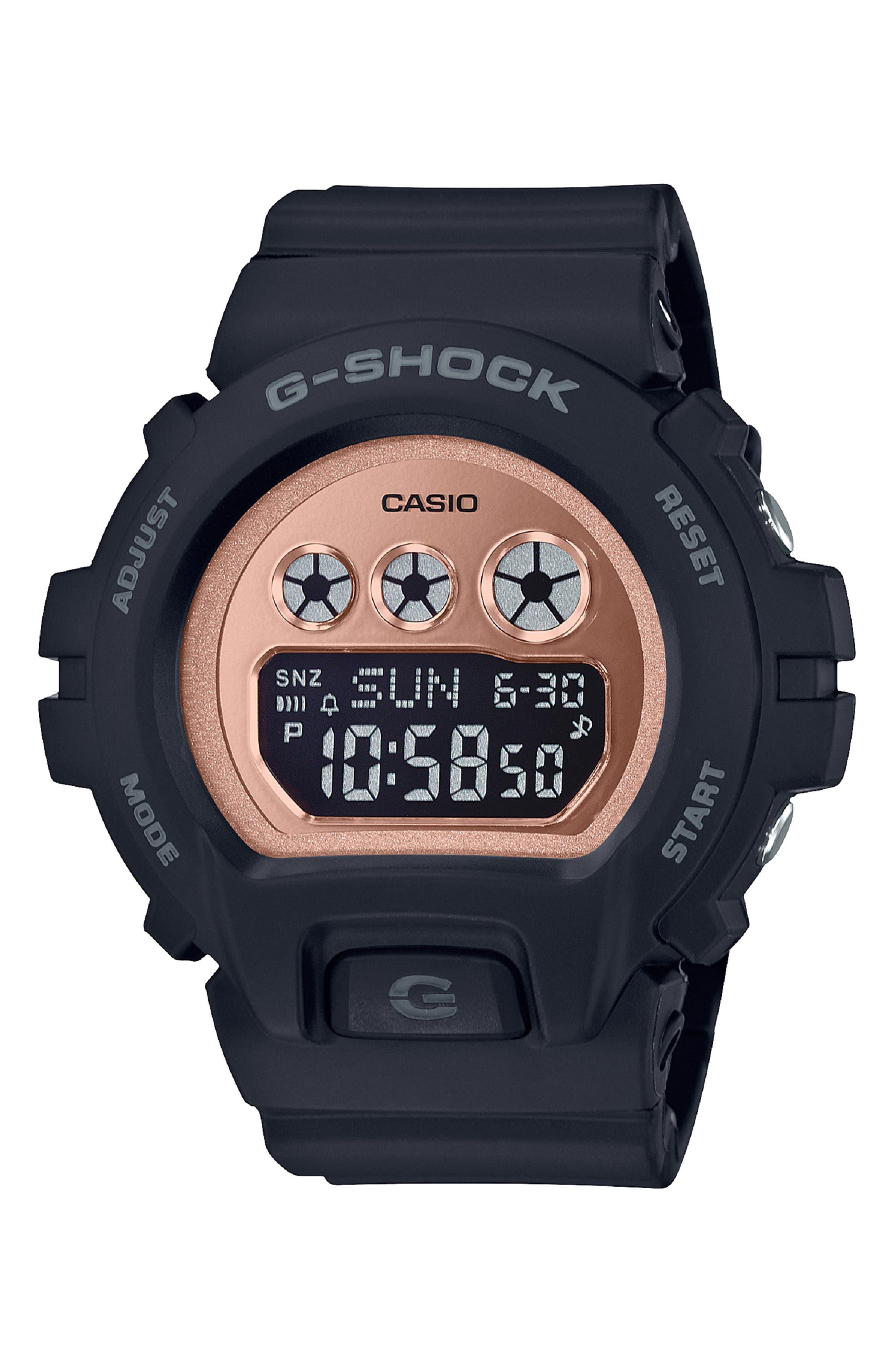 G-SHOCK BABY-G, Digital Resin Watch, 46mm, Main thumbnail 1, color, BLACK/ ROSE GOLD