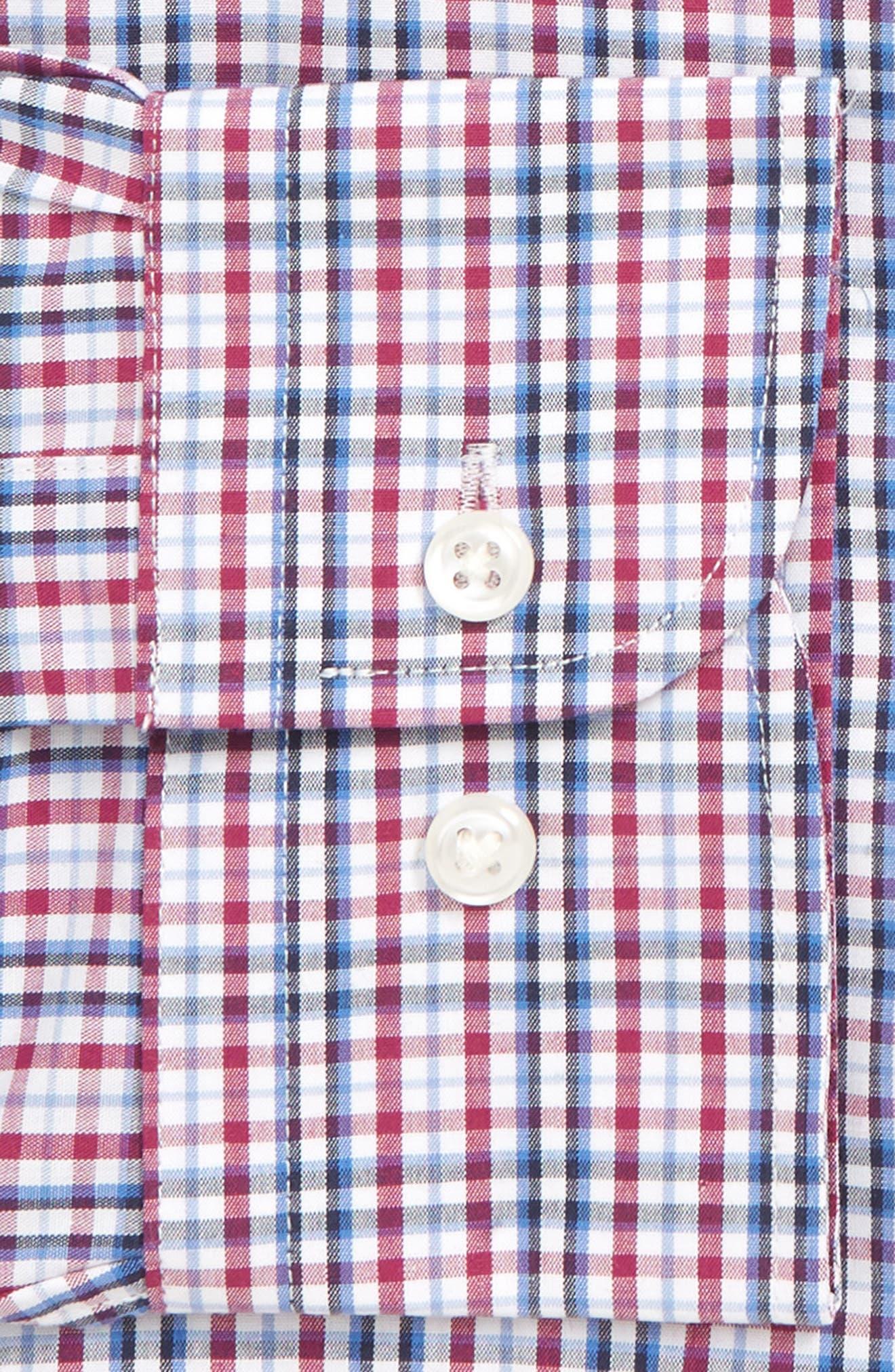 NORDSTROM MEN'S SHOP, Traditional Fit Non-Iron Plaid Dress Shirt, Alternate thumbnail 6, color, PURPLE BOYSEN