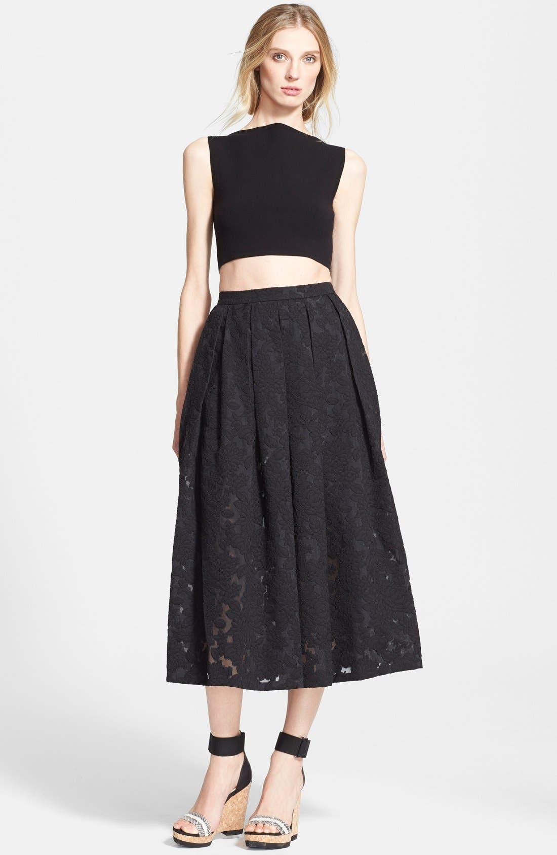 MICHAEL KORS, Floral Embroidered Pleated Midi Skirt, Alternate thumbnail 3, color, 001