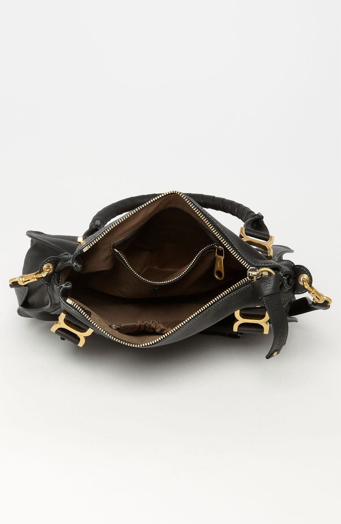 CHLOÉ, 'Medium Marcie' Leather Satchel, Alternate thumbnail 9, color, BLACK GOLD HRDWRE