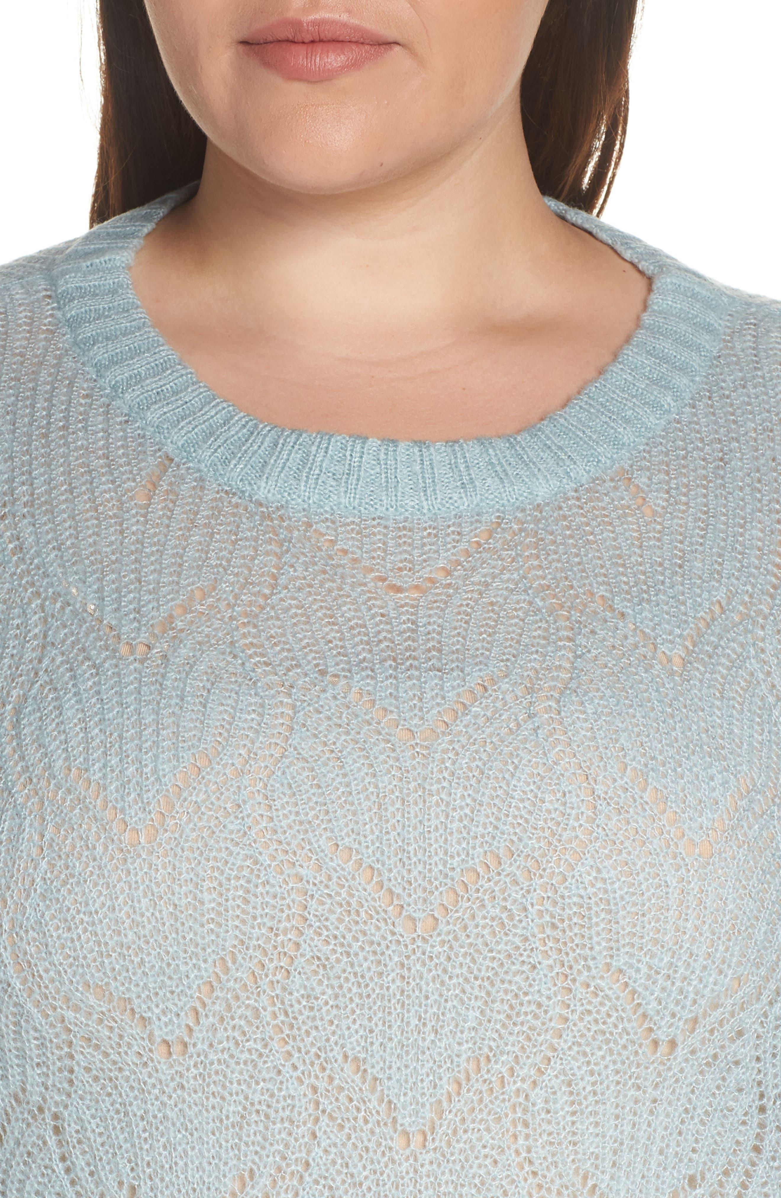 BP., Pointelle Stitch Sweater, Alternate thumbnail 10, color, BLUE CLOUD