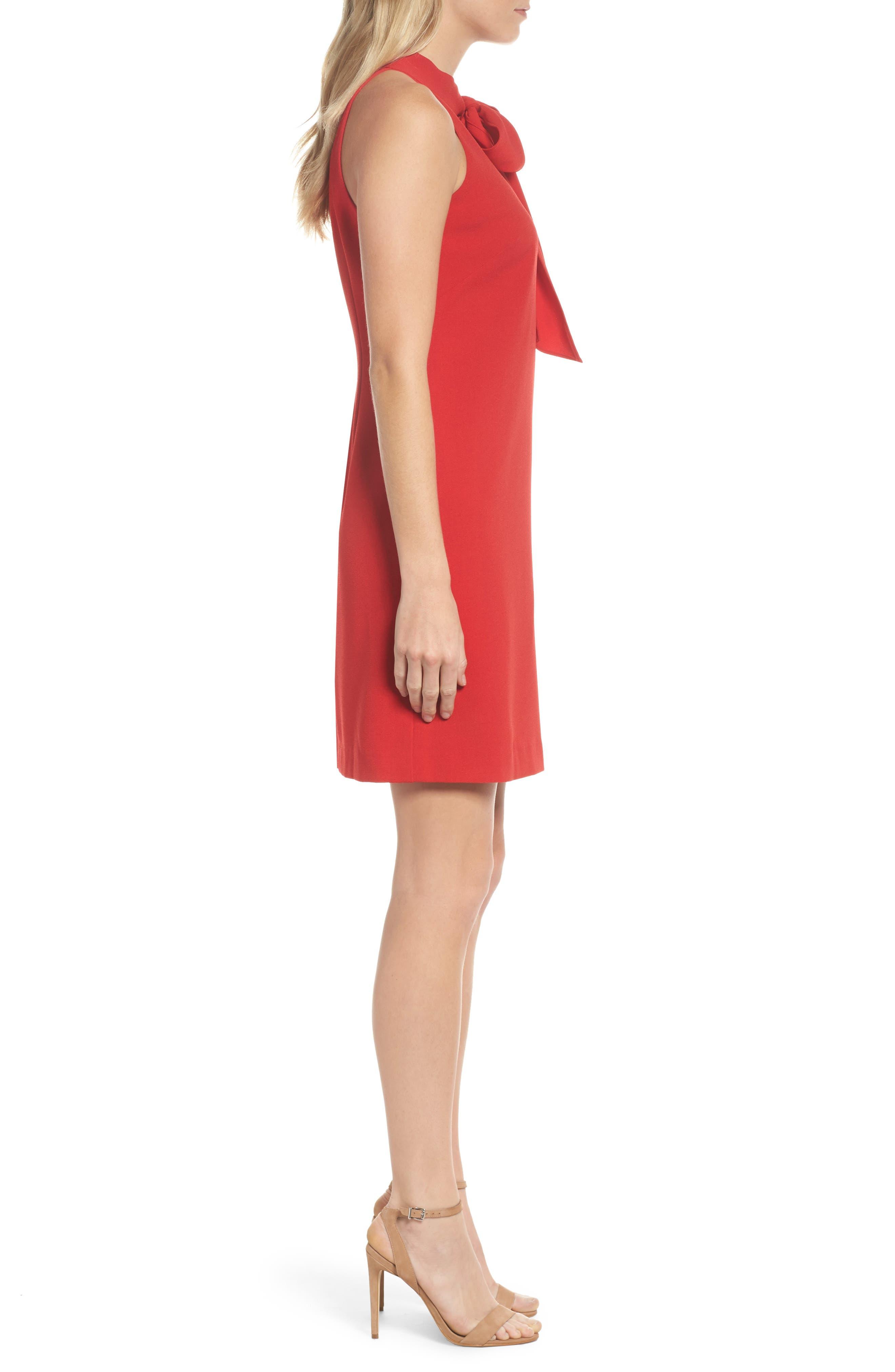 VINCE CAMUTO, Halter Tie Neck A-Line Dress, Alternate thumbnail 4, color, RED