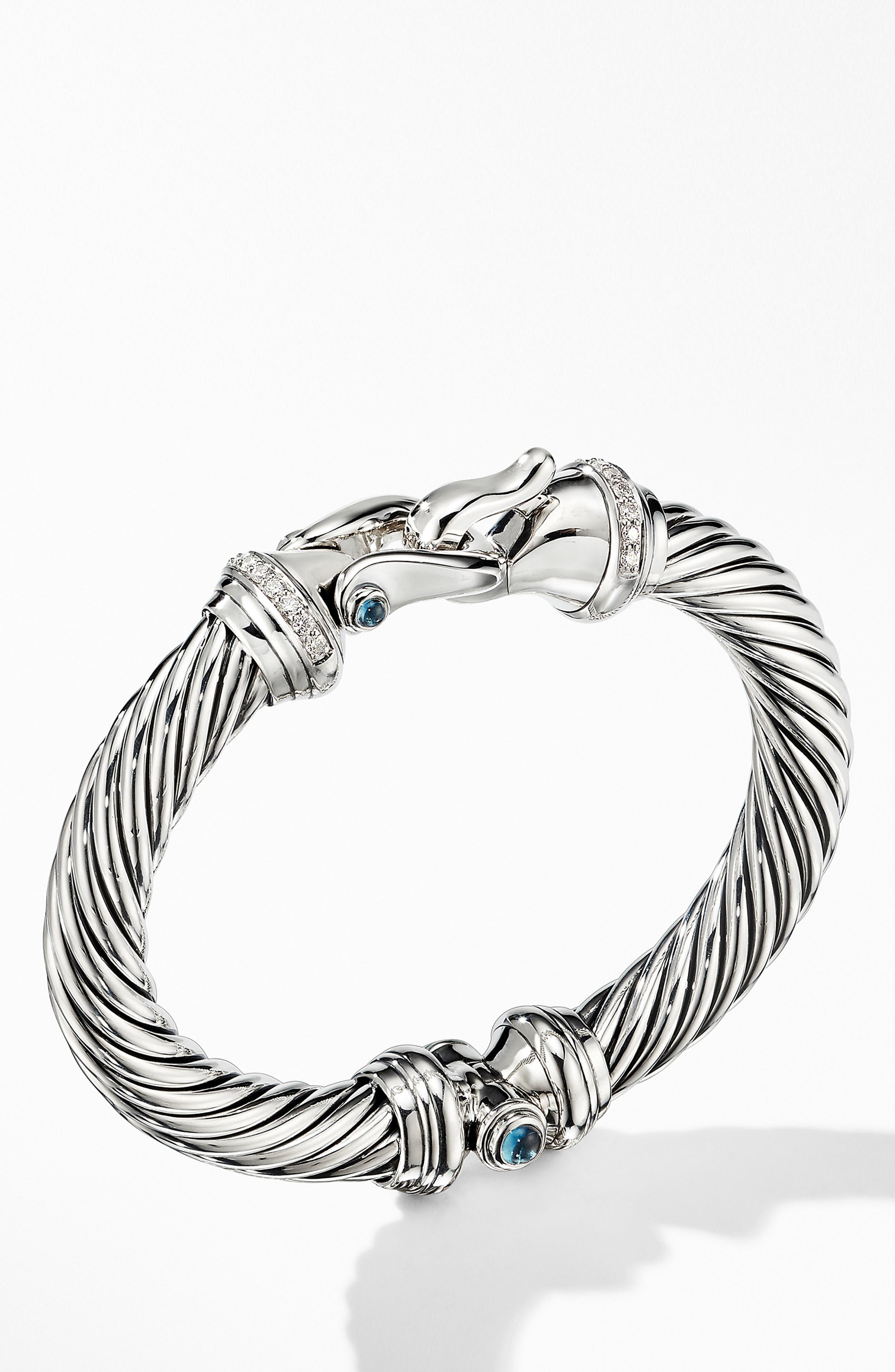 DAVID YURMAN, Cable Buckle Bracelet with Diamonds, Alternate thumbnail 2, color, HAMPTON BLUE TOPAZ