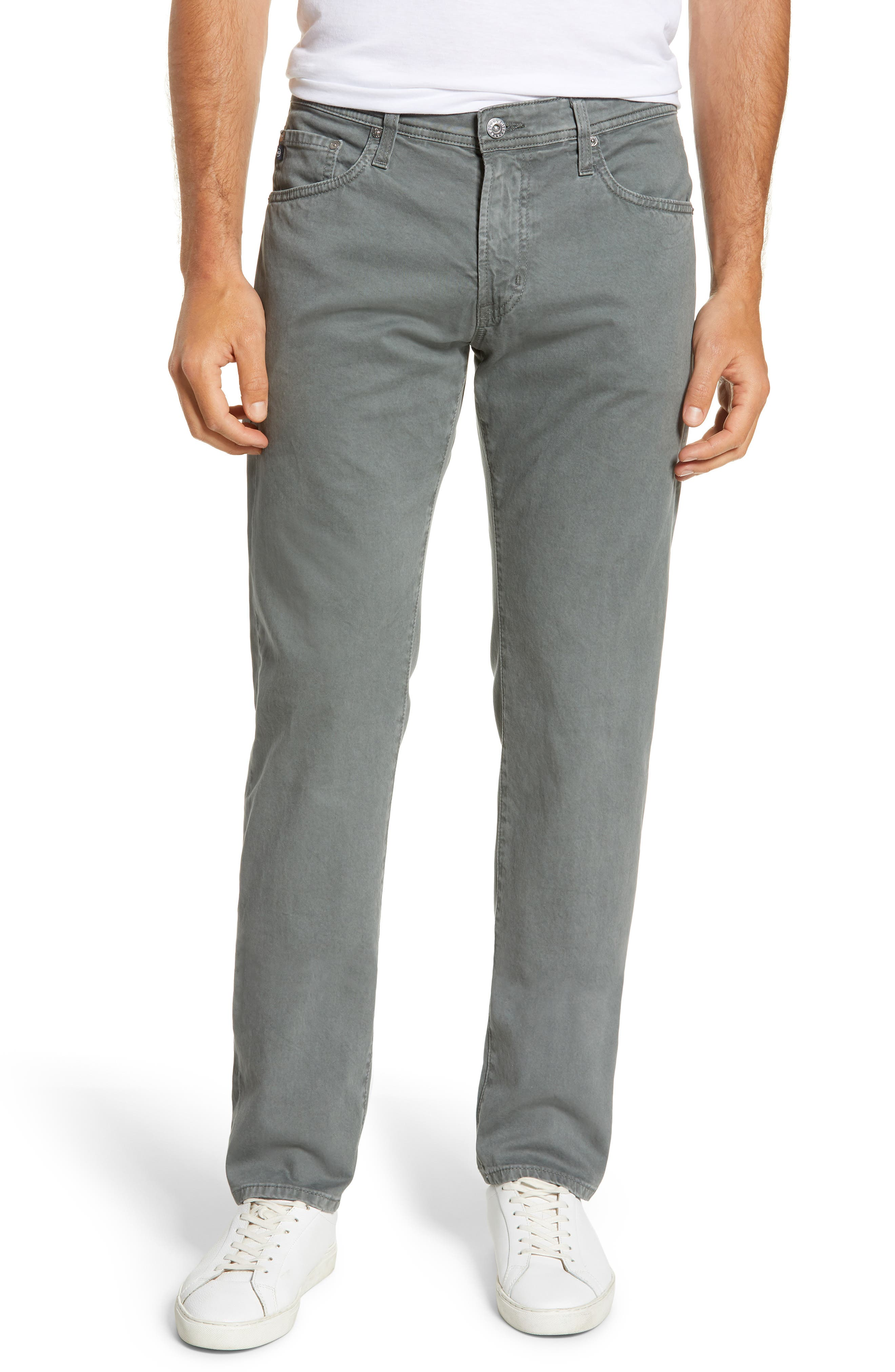 AG, Tellis SUD Modern Slim Stretch Twill Pants, Main thumbnail 1, color, SULFUR FOG BEACON