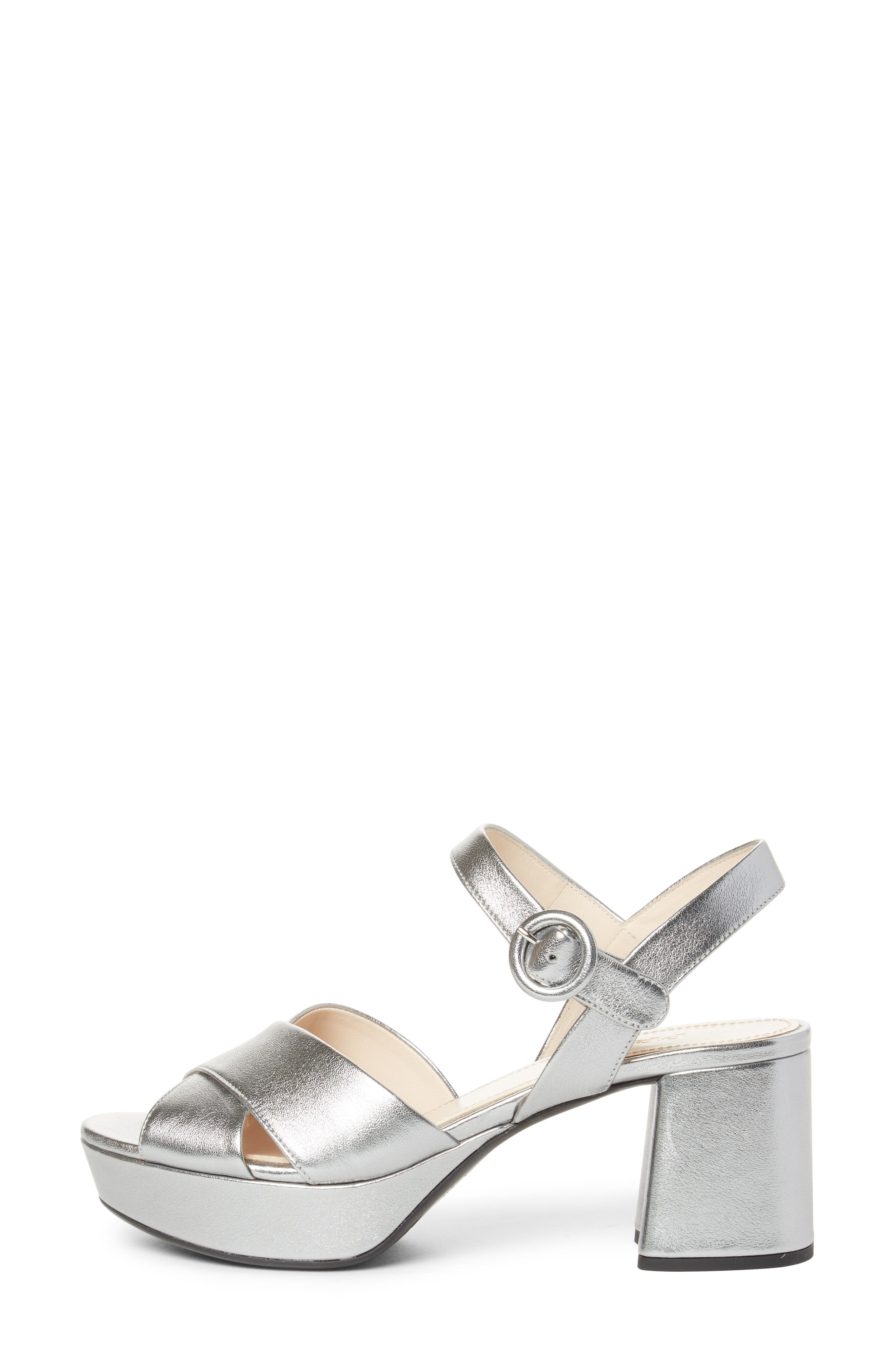 PRADA, Quarter Strap Platform Sandal, Alternate thumbnail 3, color, SILVER