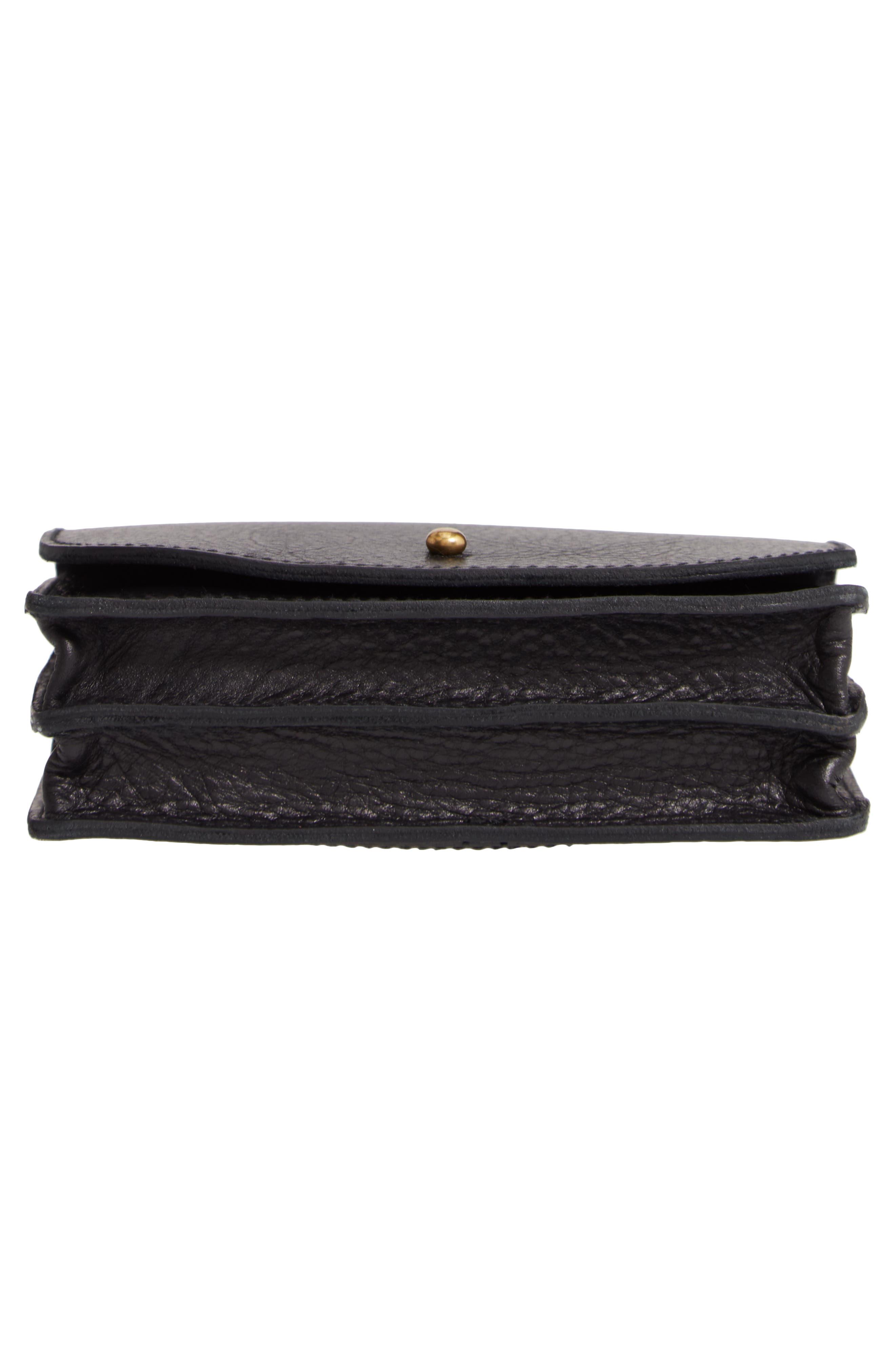 MADEWELL, Leather Crossbody Wallet, Alternate thumbnail 6, color, TRUE BLACK
