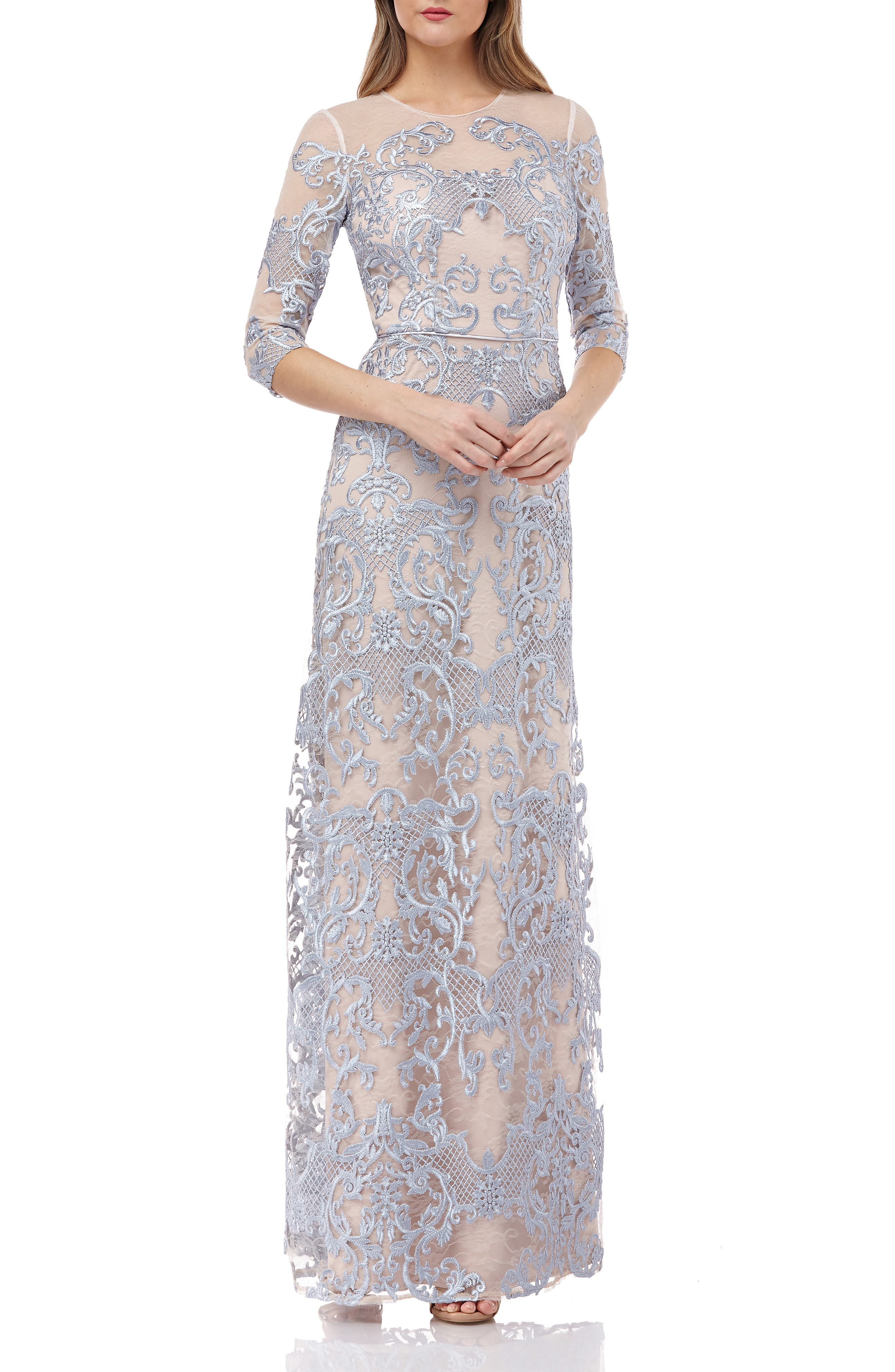 Js Collections Embroidered Lace Maxi Dress, 8 (similar to 16W) - Blue