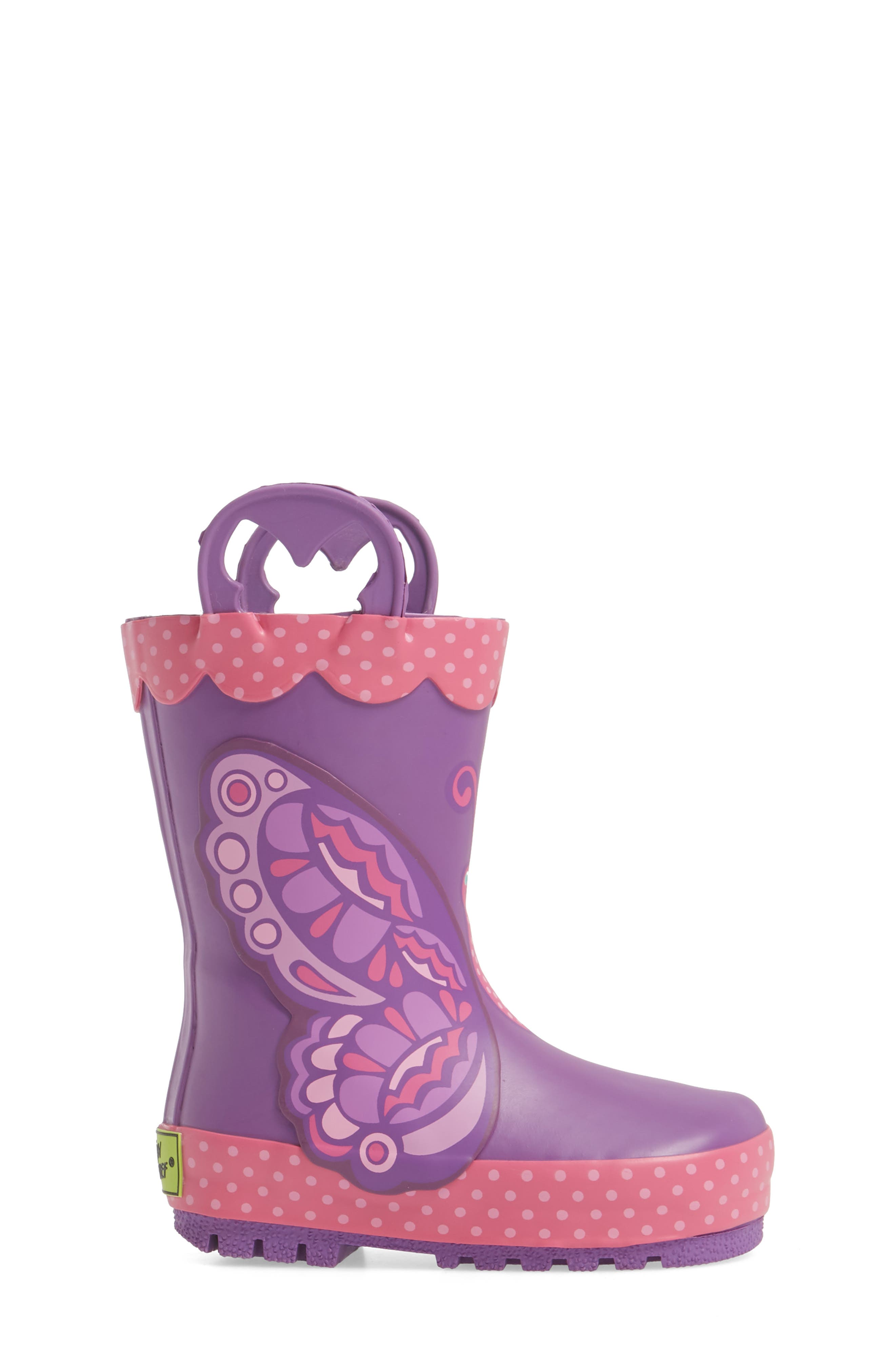 WESTERN CHIEF, Betty Butterfly Rain Boot, Alternate thumbnail 3, color, PURPLE