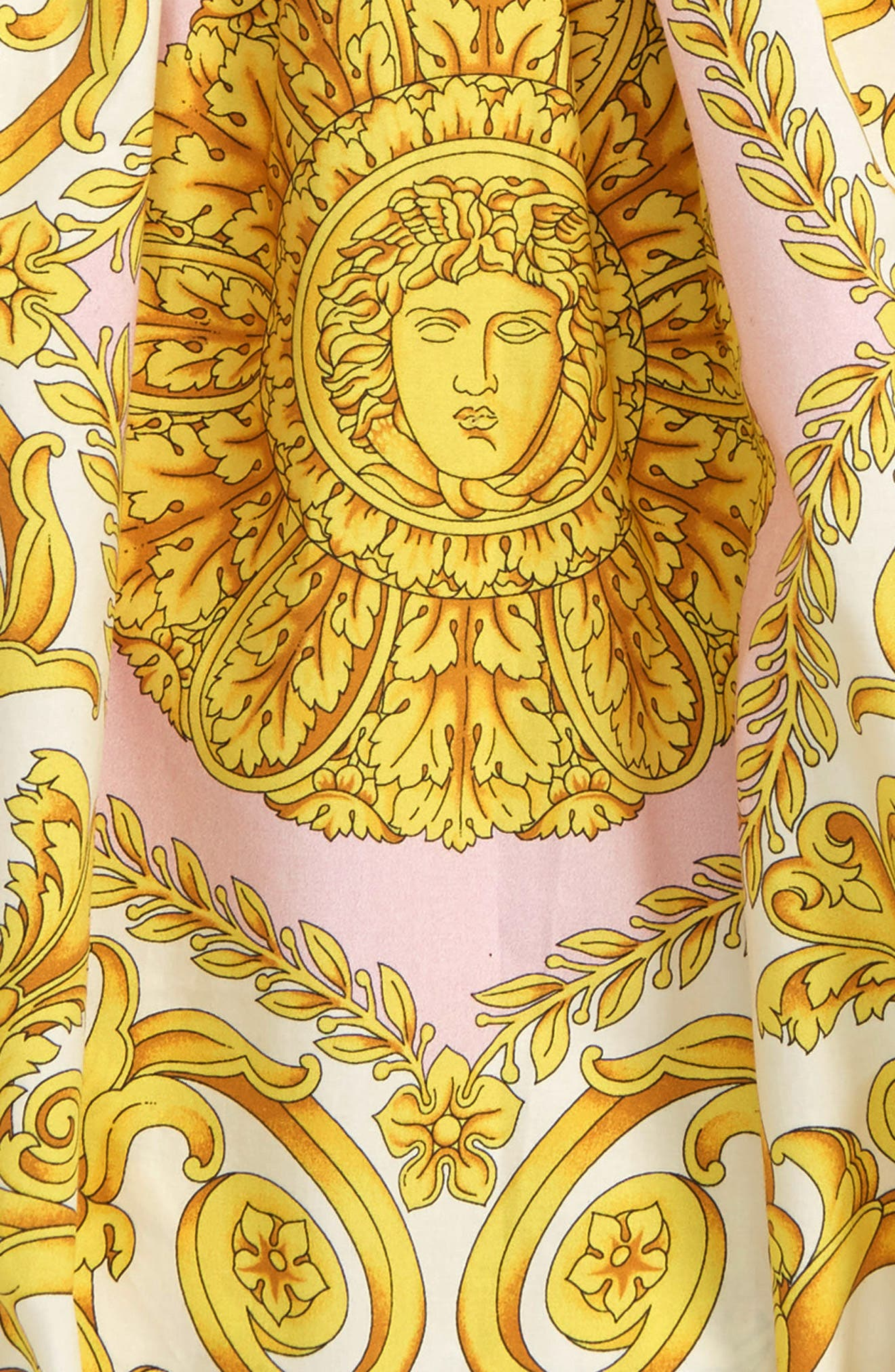 VERSACE, Barocco Print Romper, Alternate thumbnail 2, color, PINK/GOLD