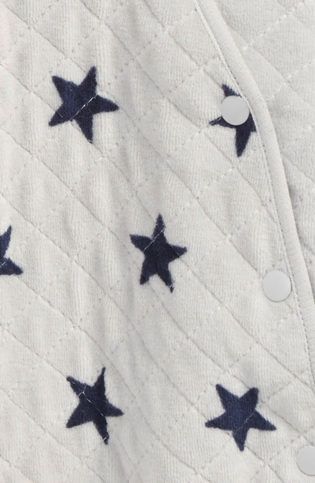 NORDSTROM BABY, Hooded Bunting, Alternate thumbnail 2, color, GREY MICRO STARS