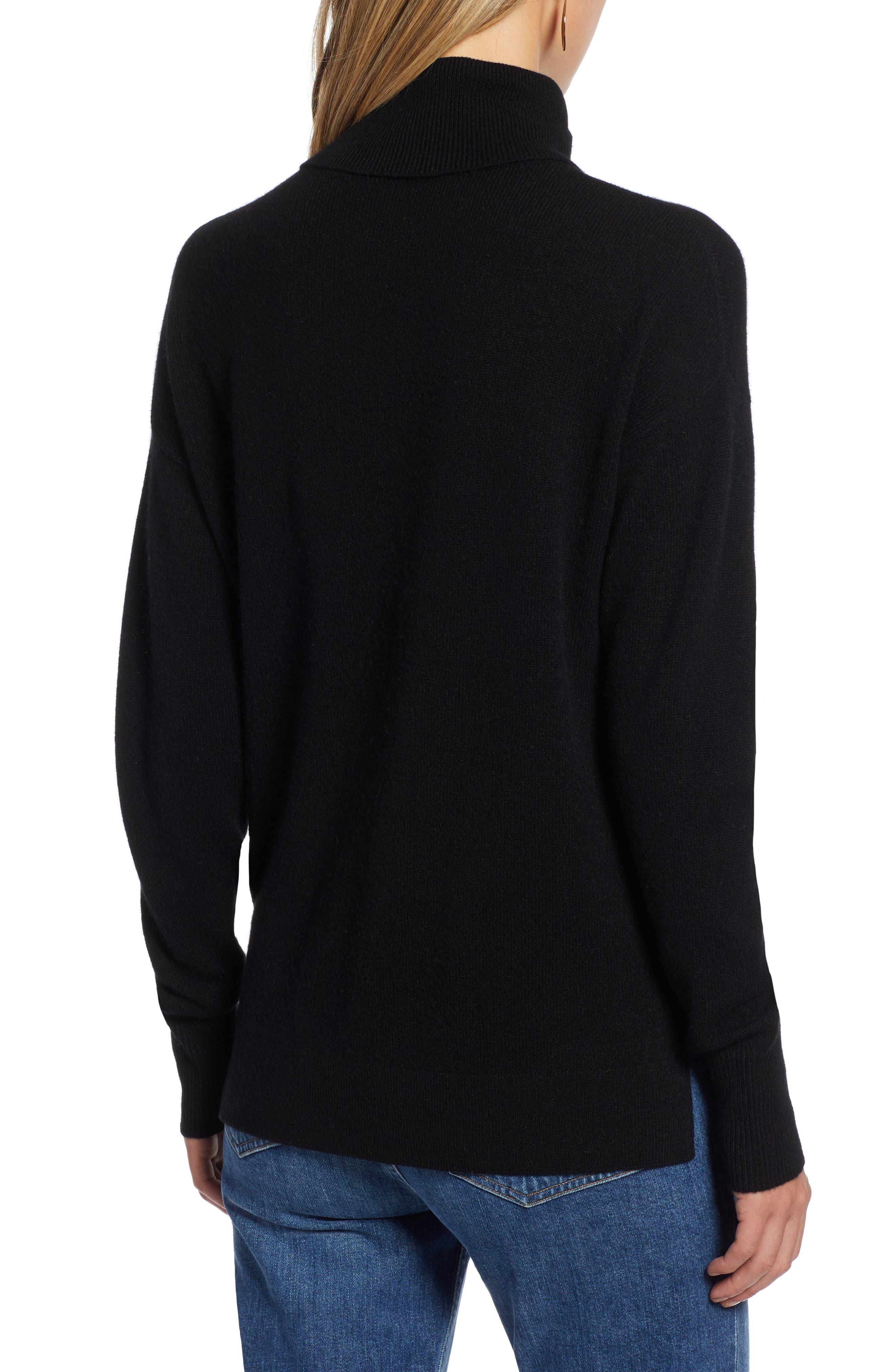 HALOGEN<SUP>®</SUP>, Cashmere Turtleneck Sweater, Alternate thumbnail 2, color, 001
