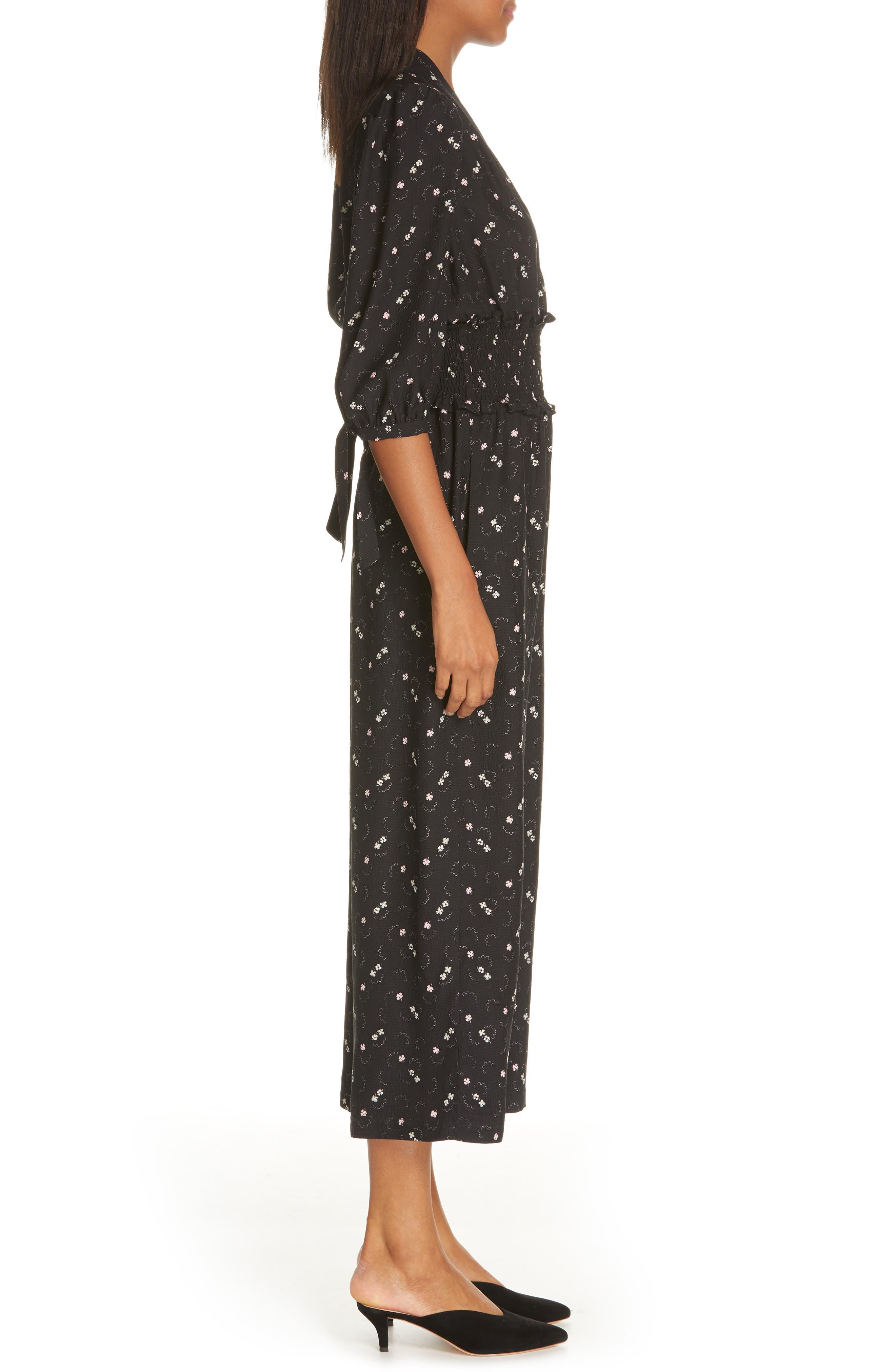 REBECCA TAYLOR, Alisia Floral Jumpsuit, Alternate thumbnail 4, color, BLACK COMBO