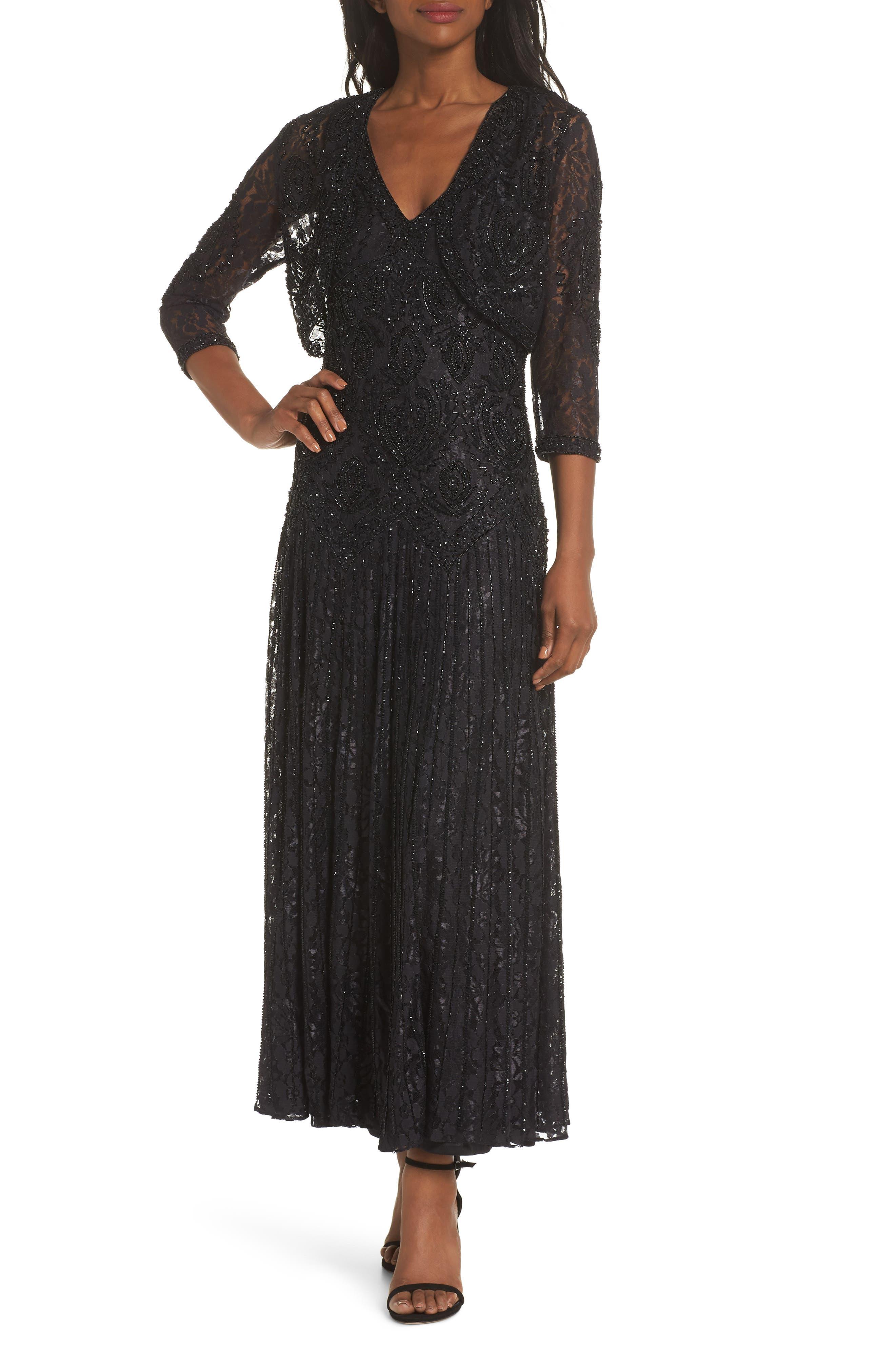 PISARRO NIGHTS Beaded Lace Evening Dress with Bolero, Main, color, BLACK
