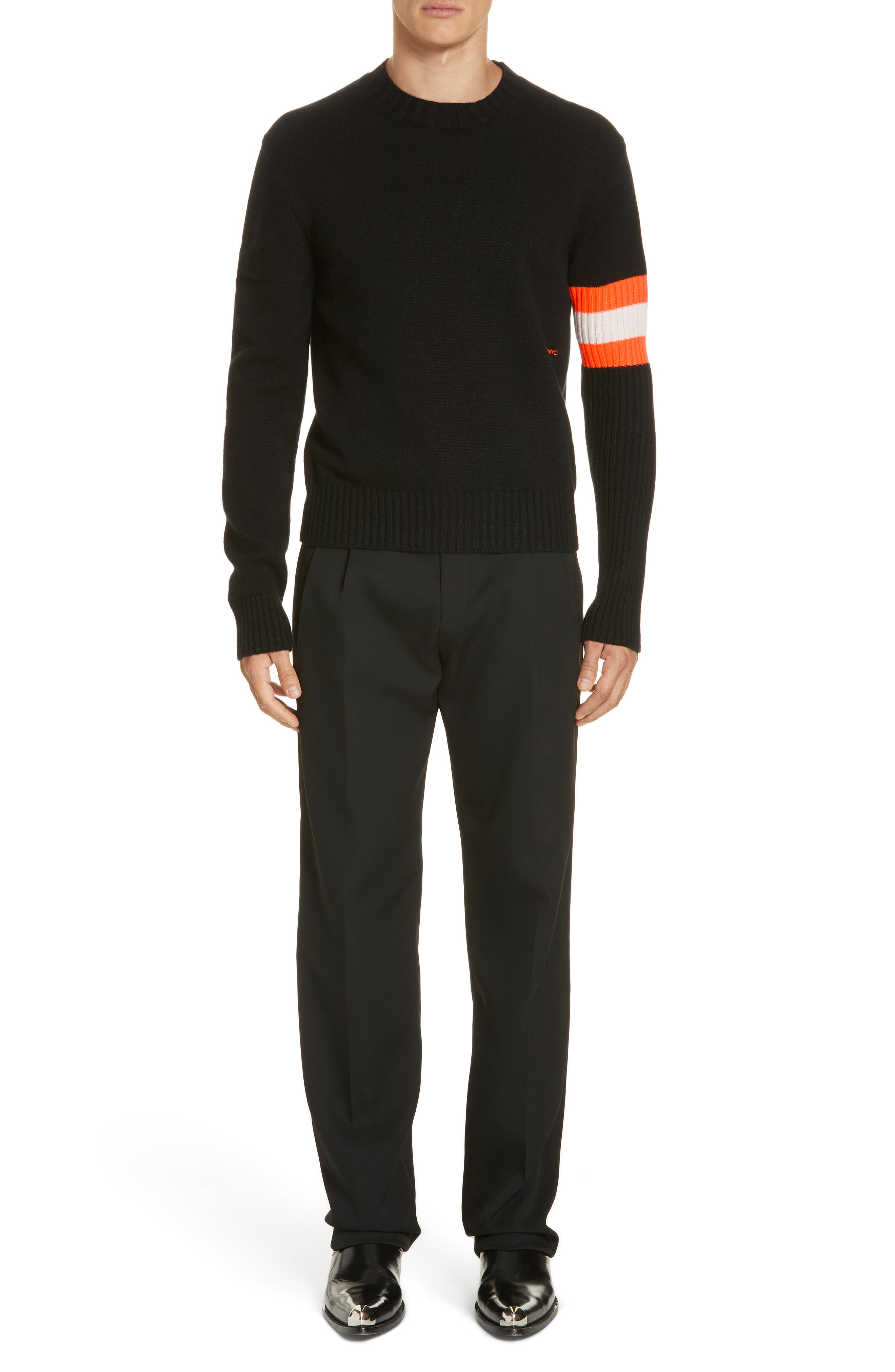 CALVIN KLEIN 205W39NYC, Wool Gabardine Pants, Alternate thumbnail 7, color, BLACK