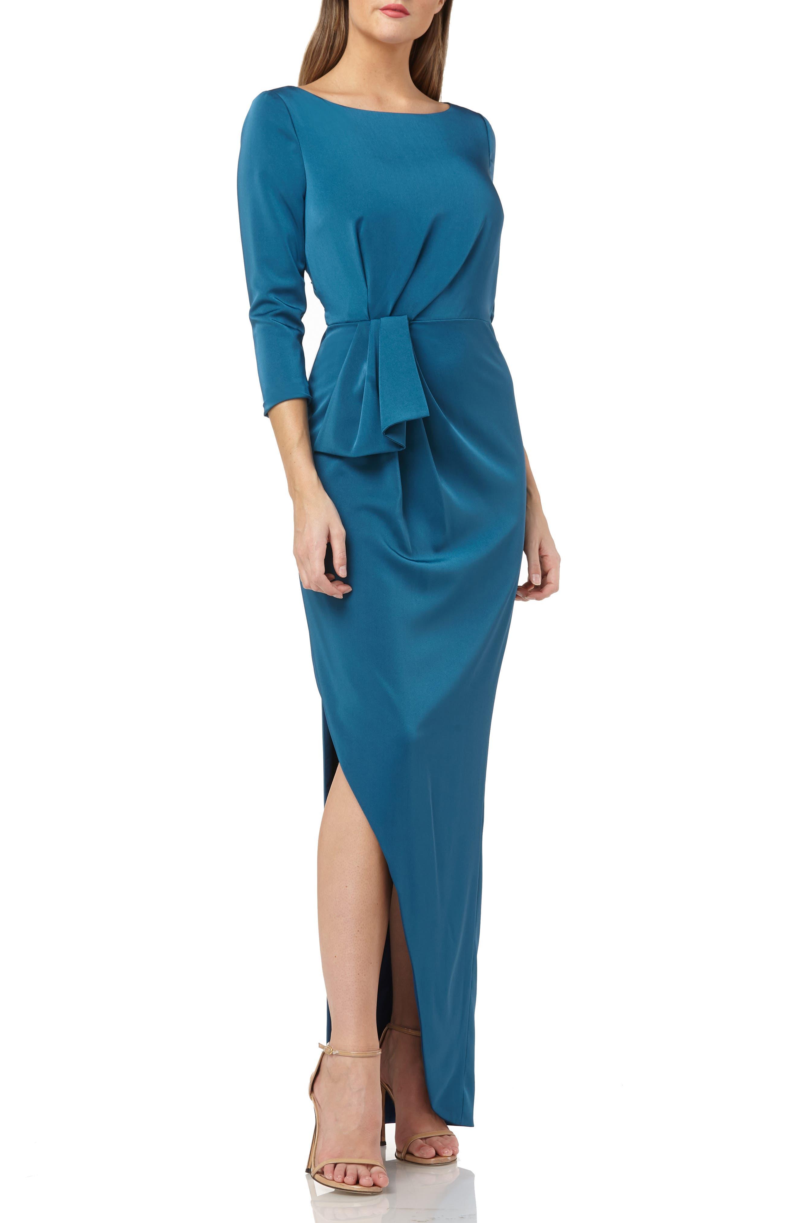 Kay Unger Gathered Waist Evening Dress, Blue/green