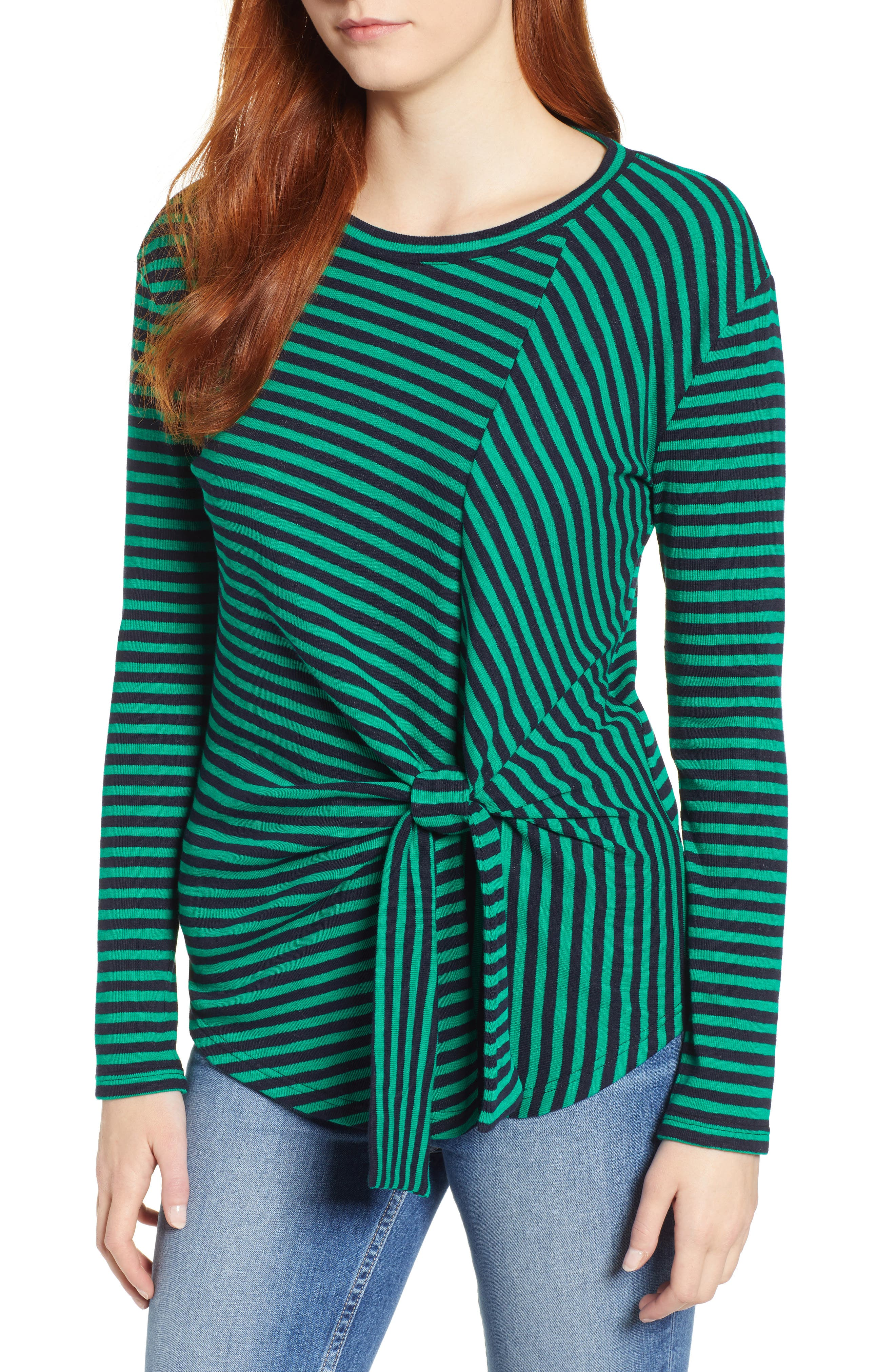 &.LAYERED Twist Front Stripe Stretch Cotton Tee, Main, color, NAVY/ GREEN