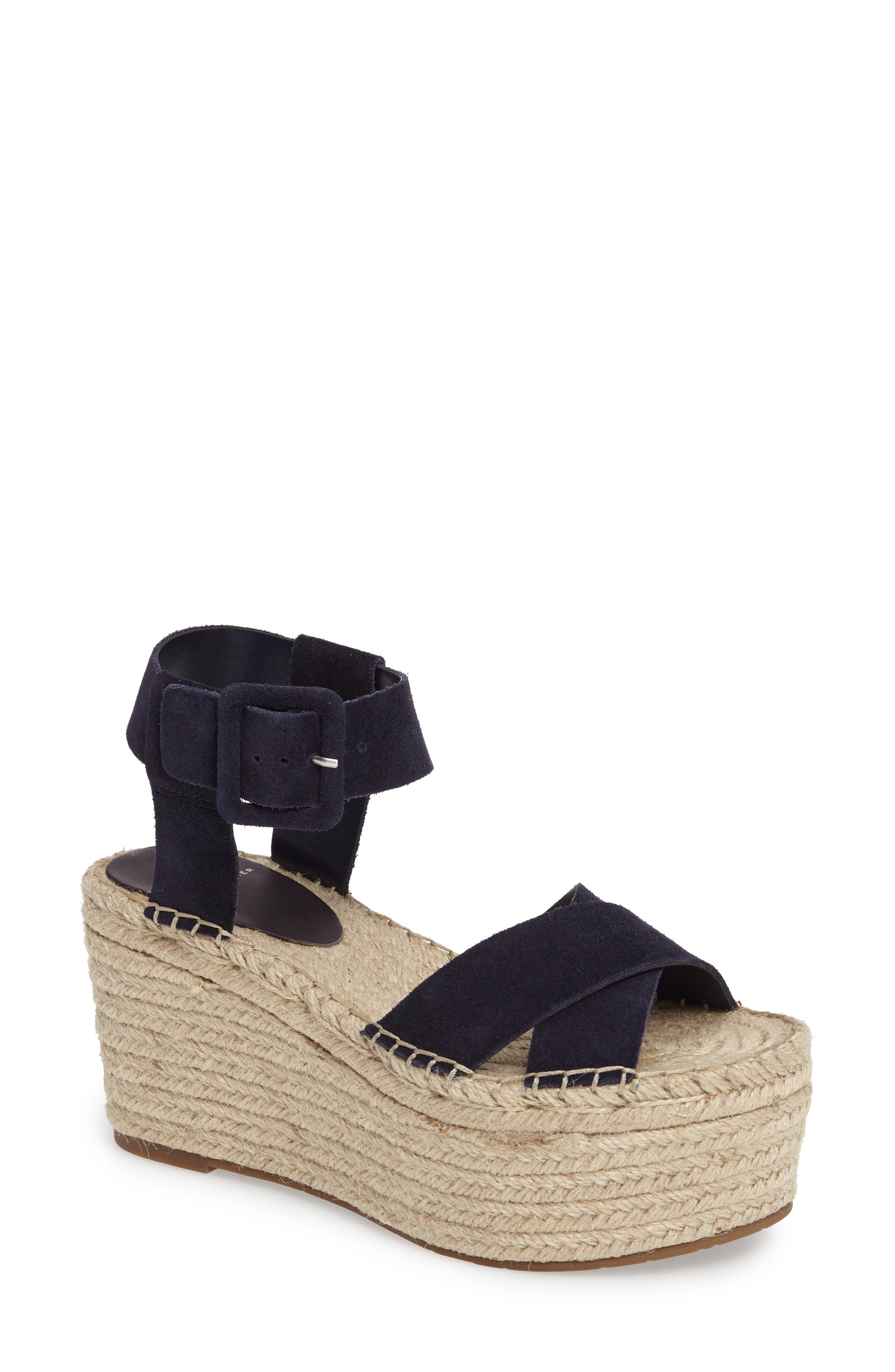 MARC FISHER LTD, 'Randall' Platform Wedge, Main thumbnail 1, color, NAVY SUEDE