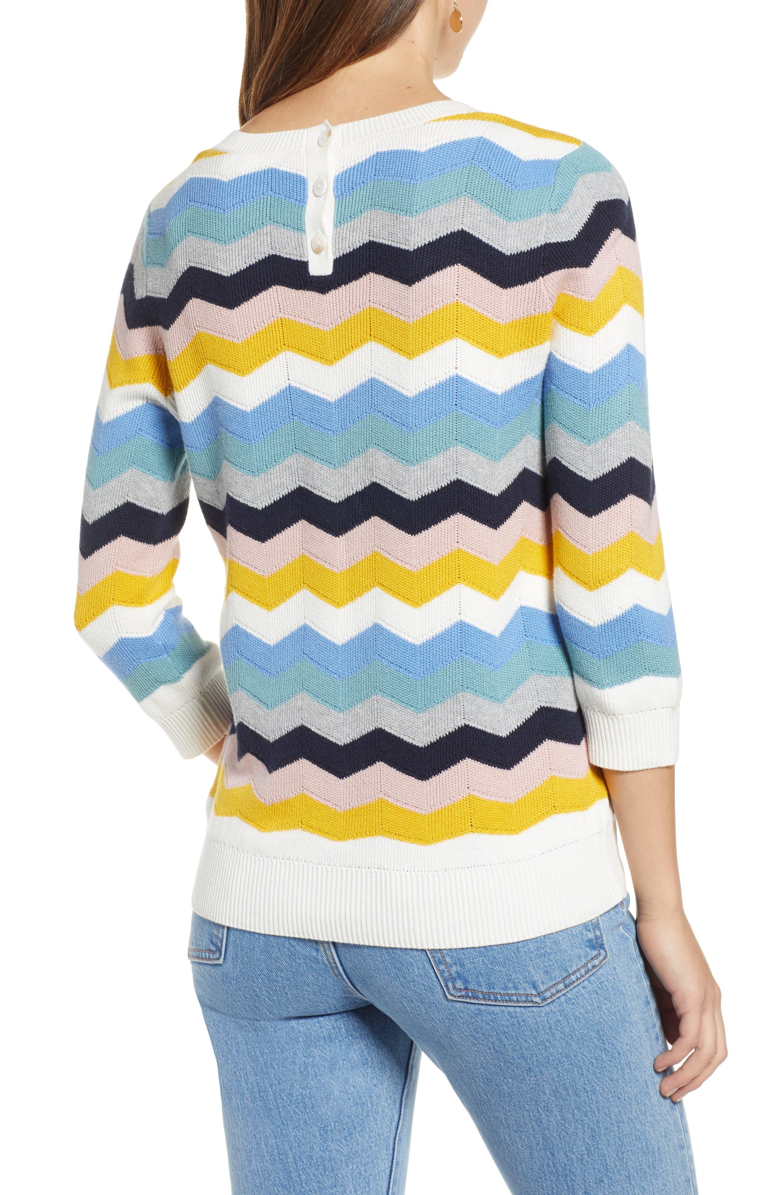 1901, Chevron Jacquard Sweater, Alternate thumbnail 2, color, BLUE MULTI CHEVRON PATTERN