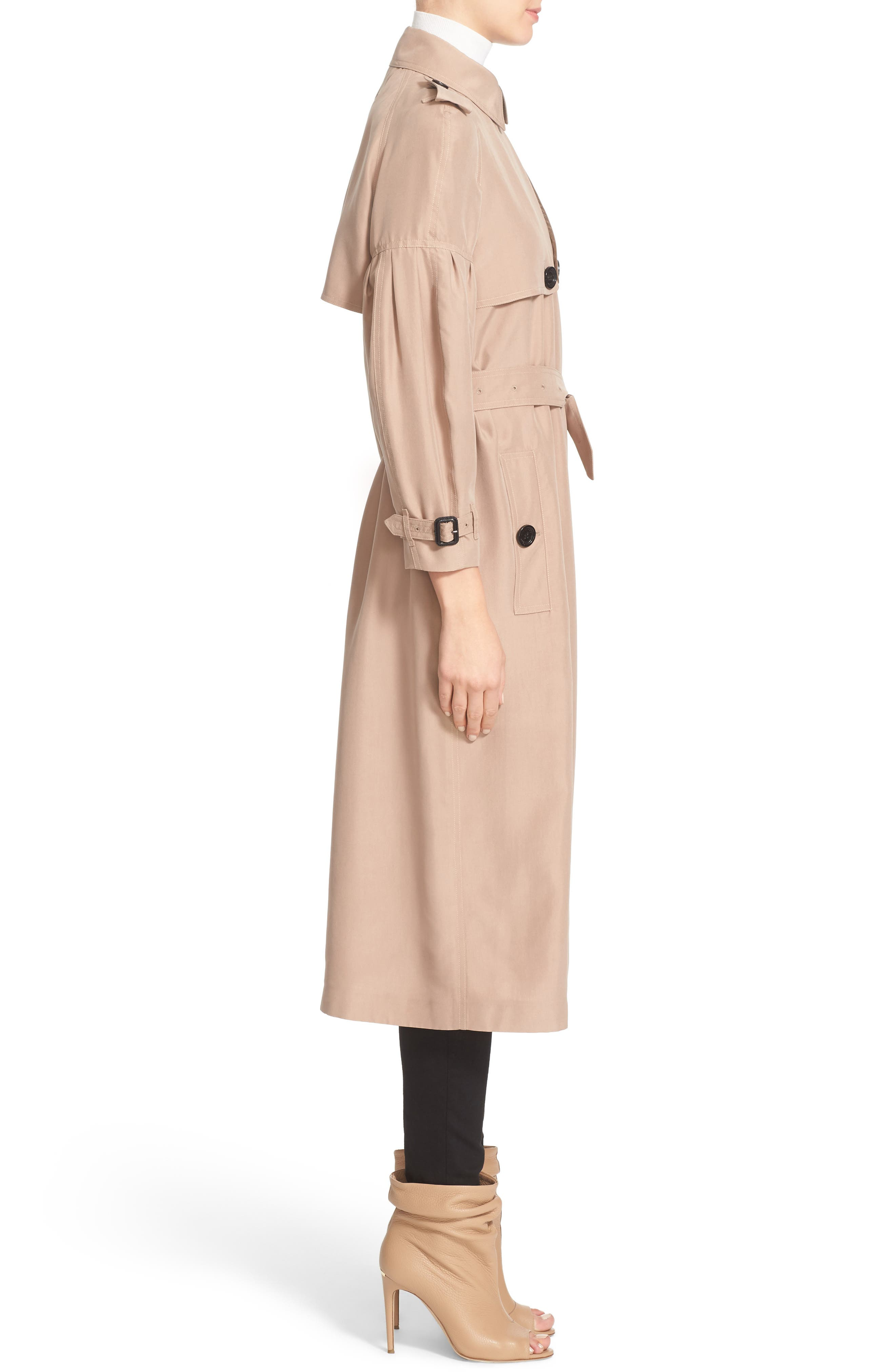 BURBERRY, Maythorne Mulberry Silk Trench, Alternate thumbnail 4, color, 250