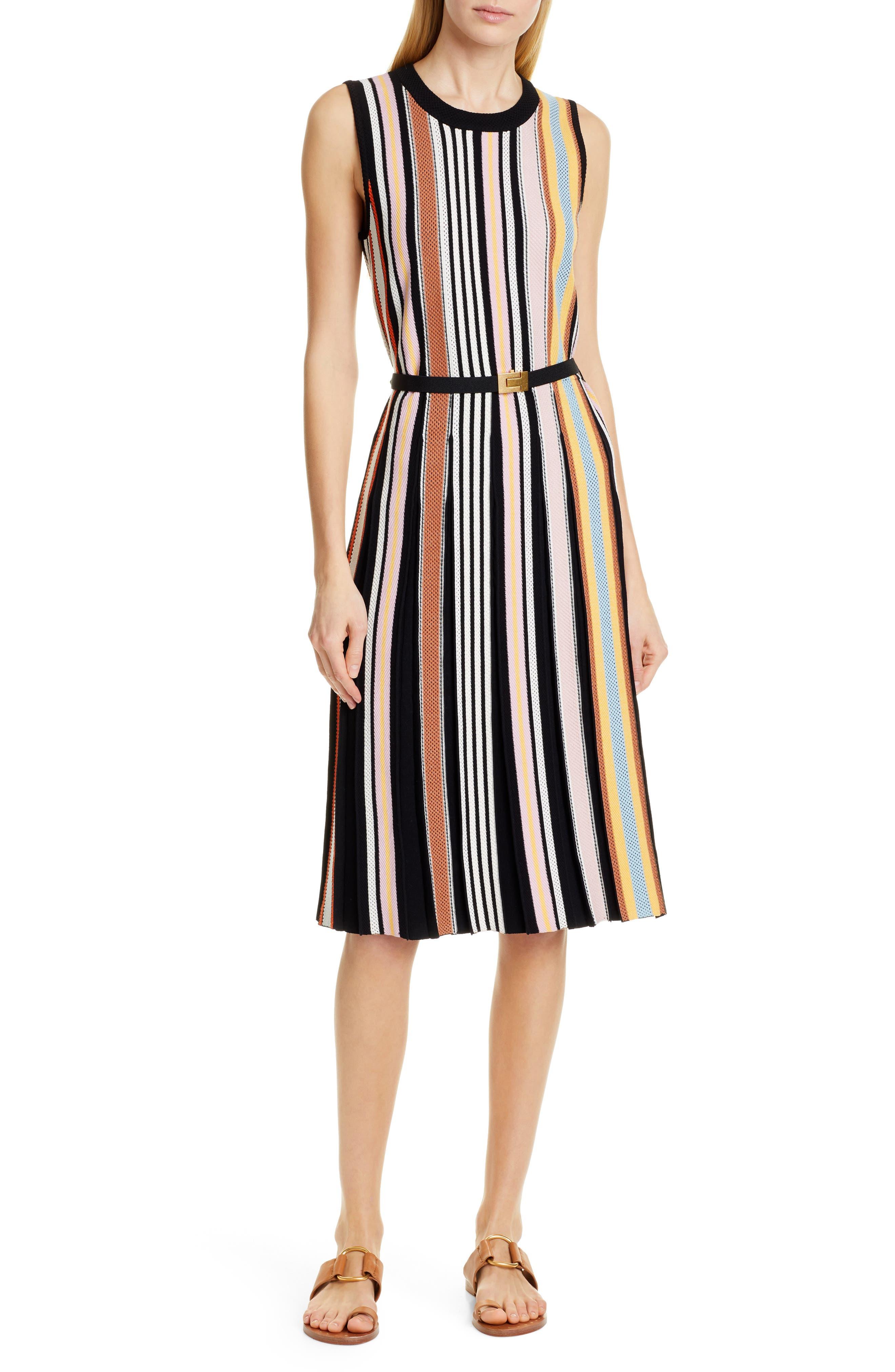 TORY BURCH, Stripe Sweater Dress, Main thumbnail 1, color, WEBBING STRIPE