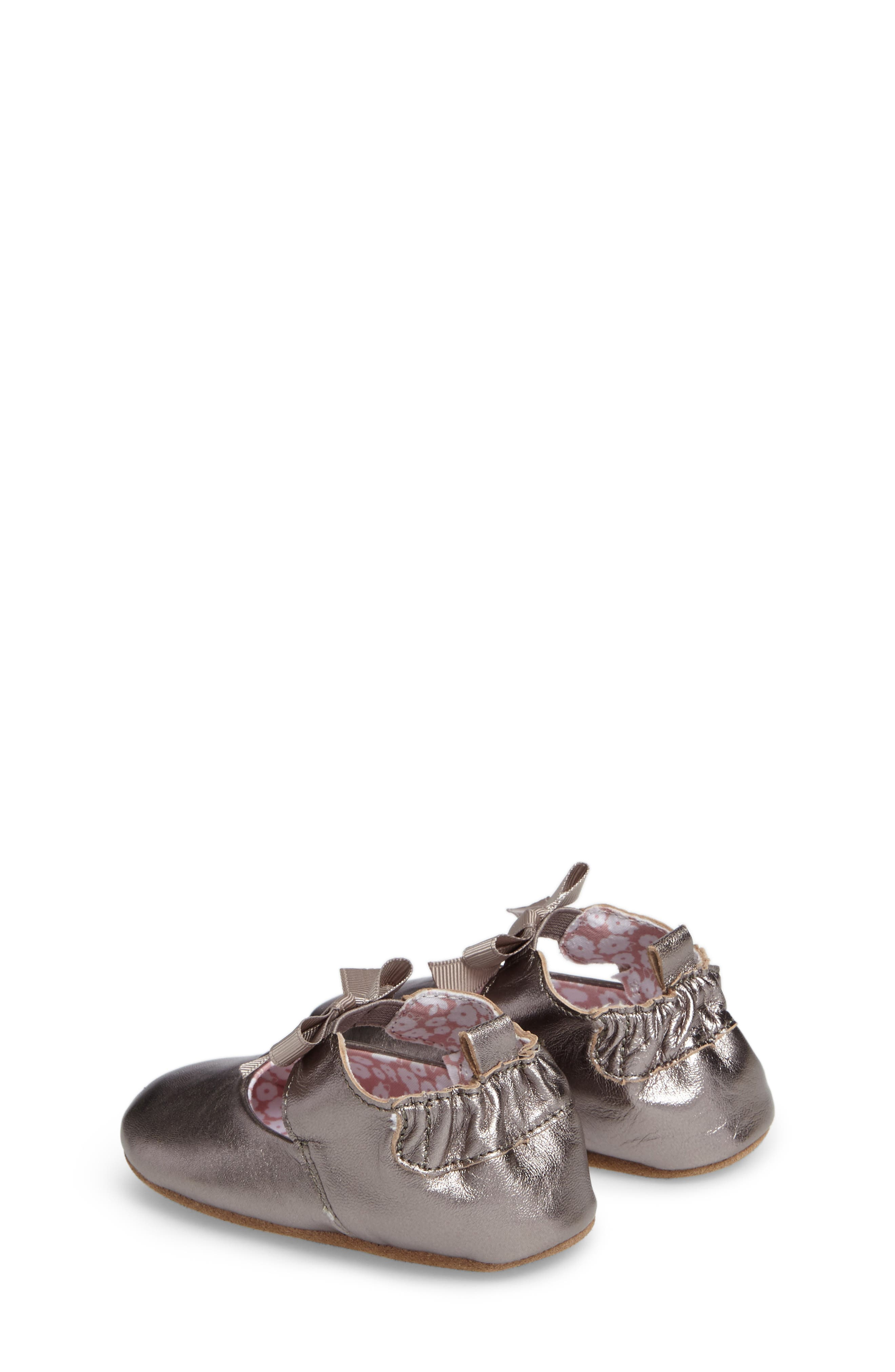 ROBEEZ<SUP>®</SUP>, Amelia Crib Shoes, Alternate thumbnail 2, color, GREY