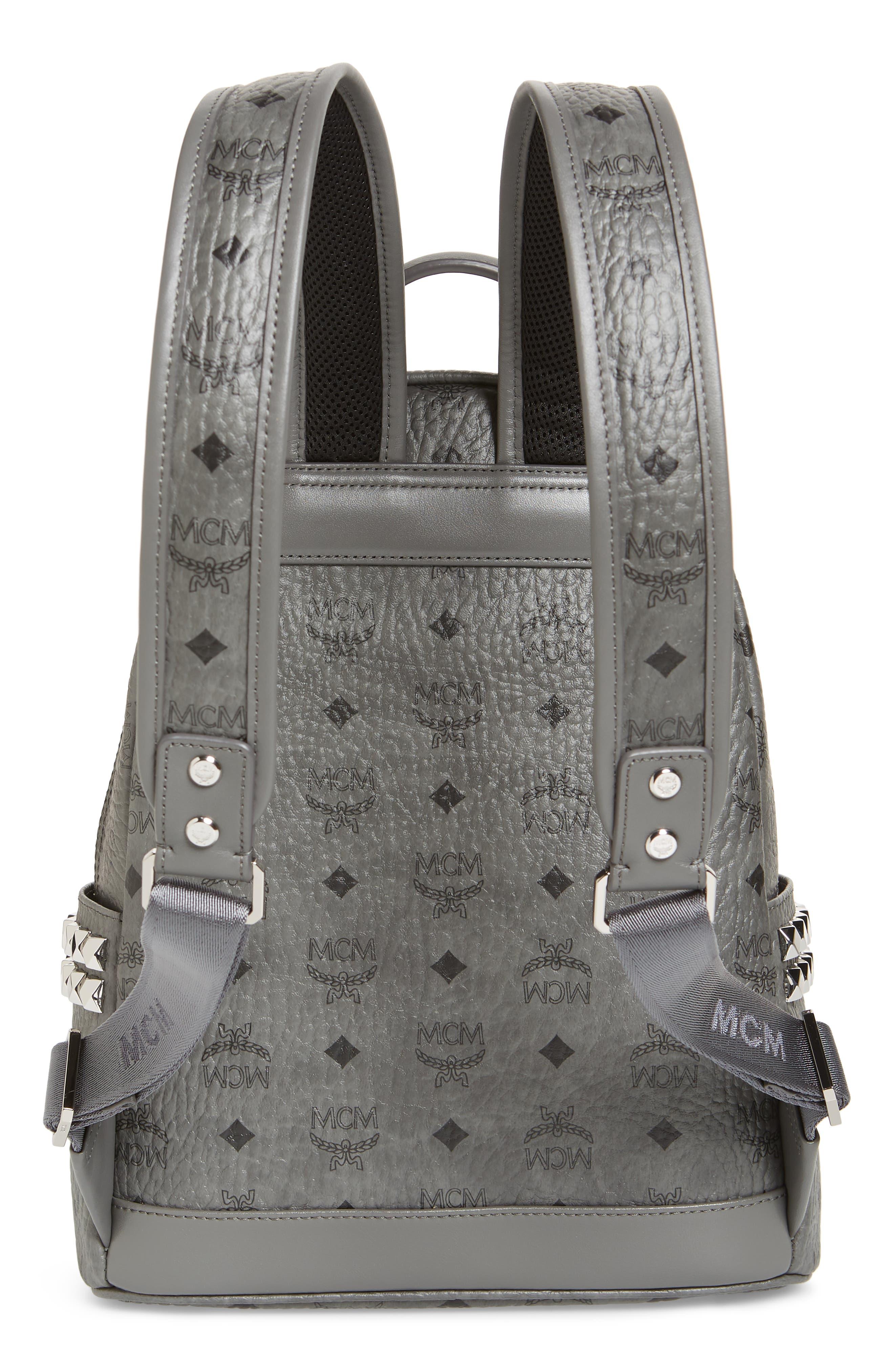 MCM, Small Stark Side Stud Backpack, Alternate thumbnail 4, color, PHANTOM GREY