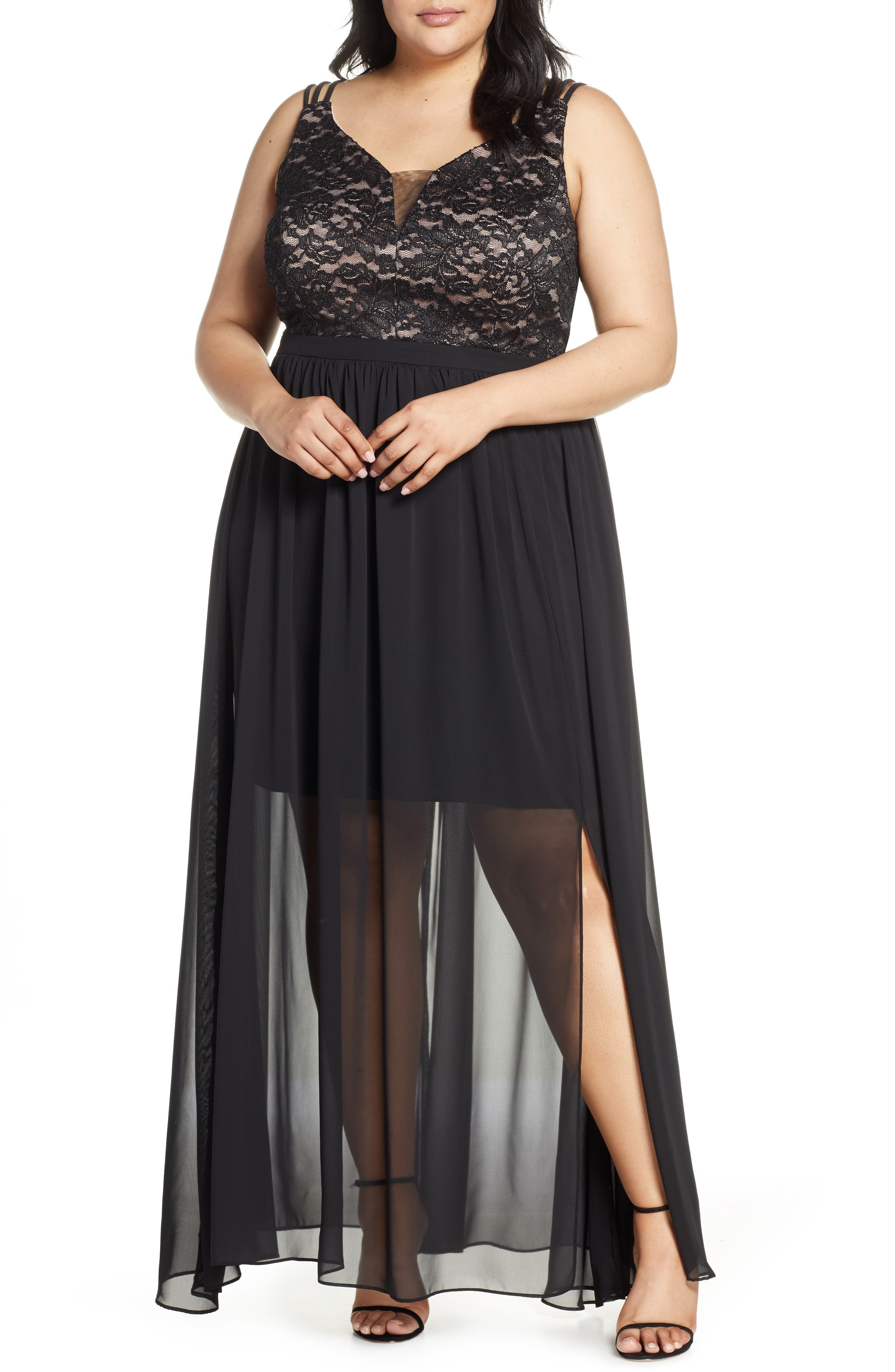 Plus Size Morgan & Co. Strappy Lace Bodice Chiffon Gown, Black