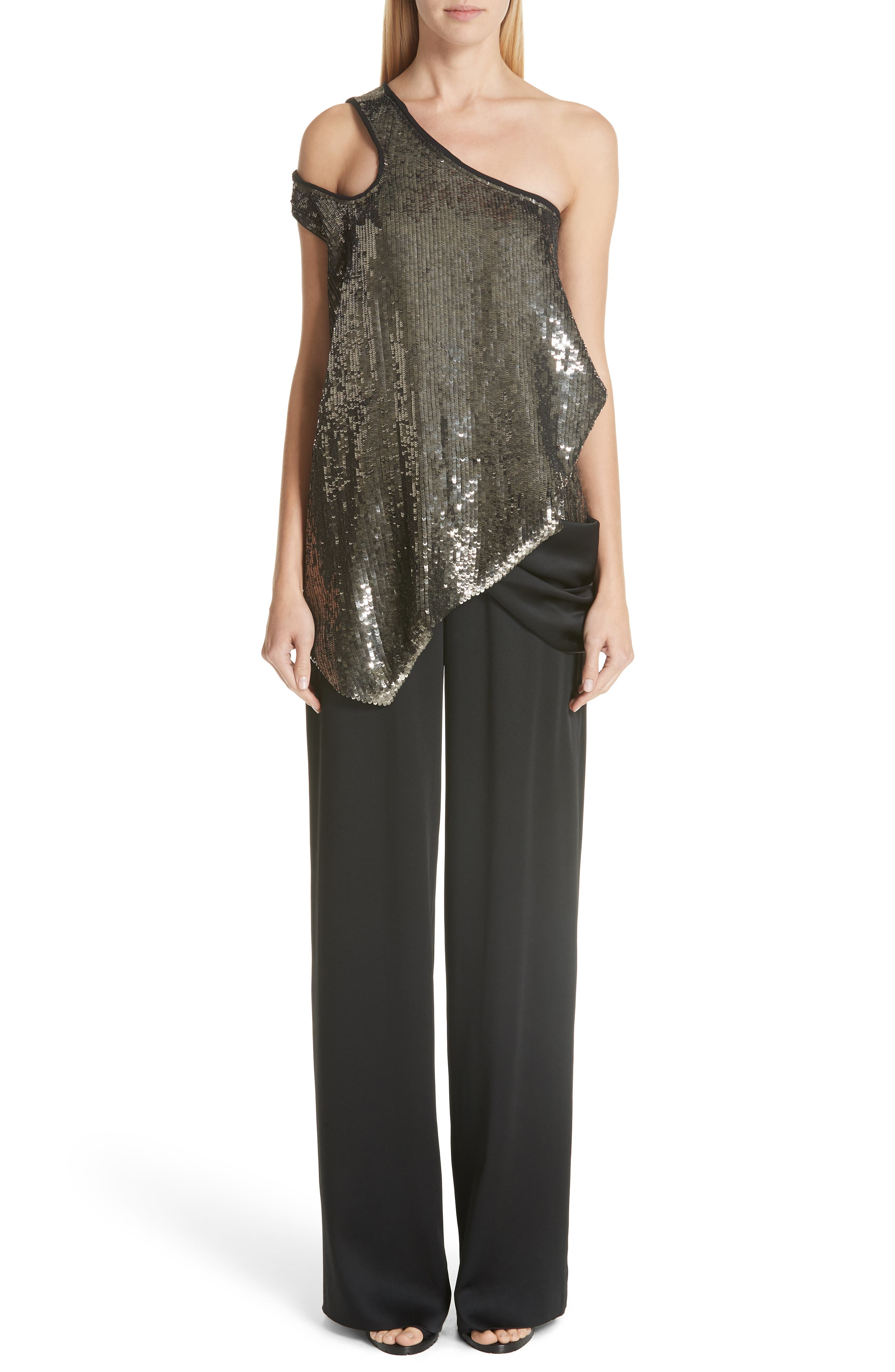 MONSE, Cutout Shoulder Sequin Tank, Alternate thumbnail 7, color, GUN METAL