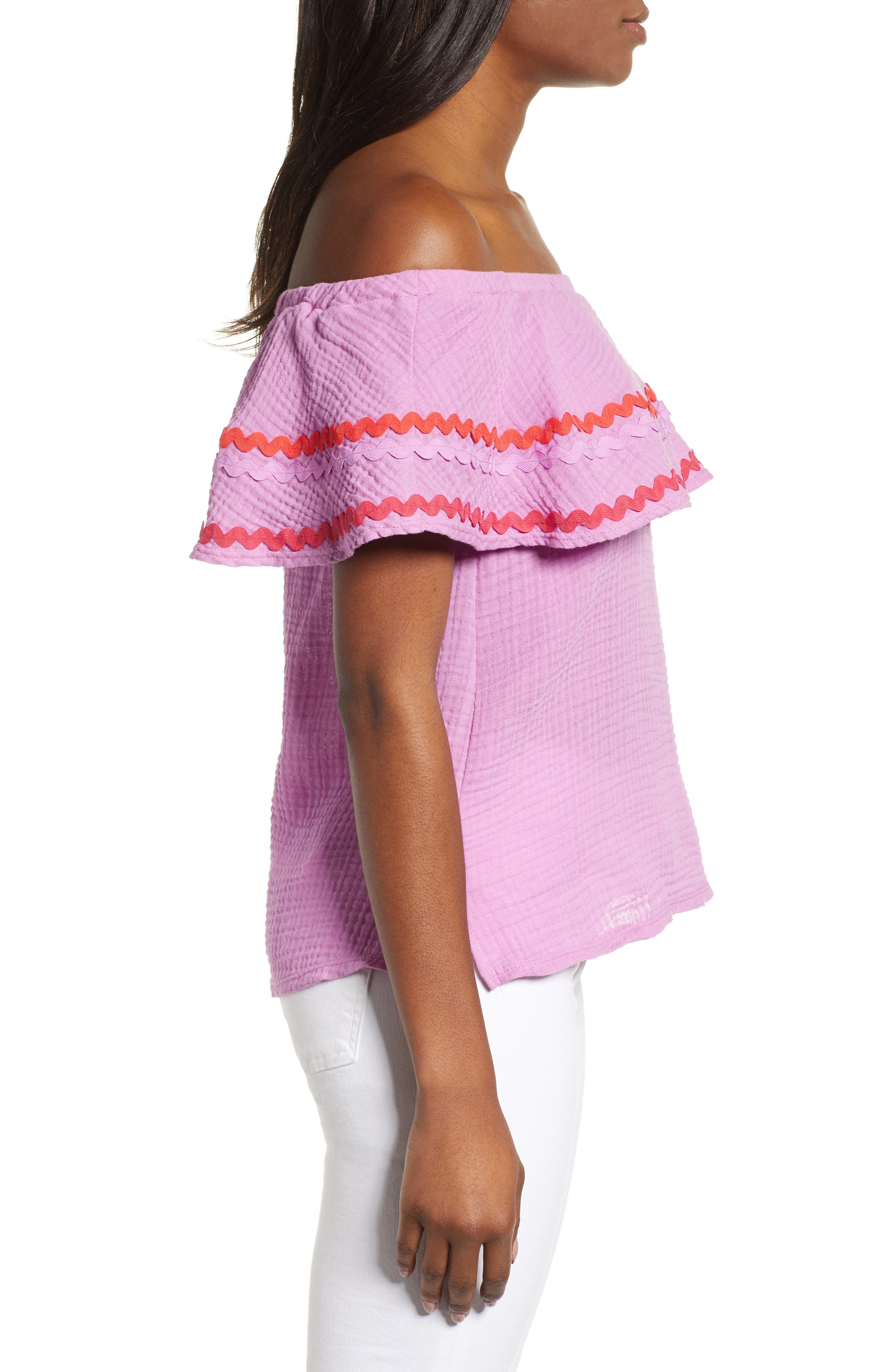 GIBSON, x Hi Sugarplum! Santa Fe Rickrack Off the Shoulder Top, Alternate thumbnail 3, color, PEONY