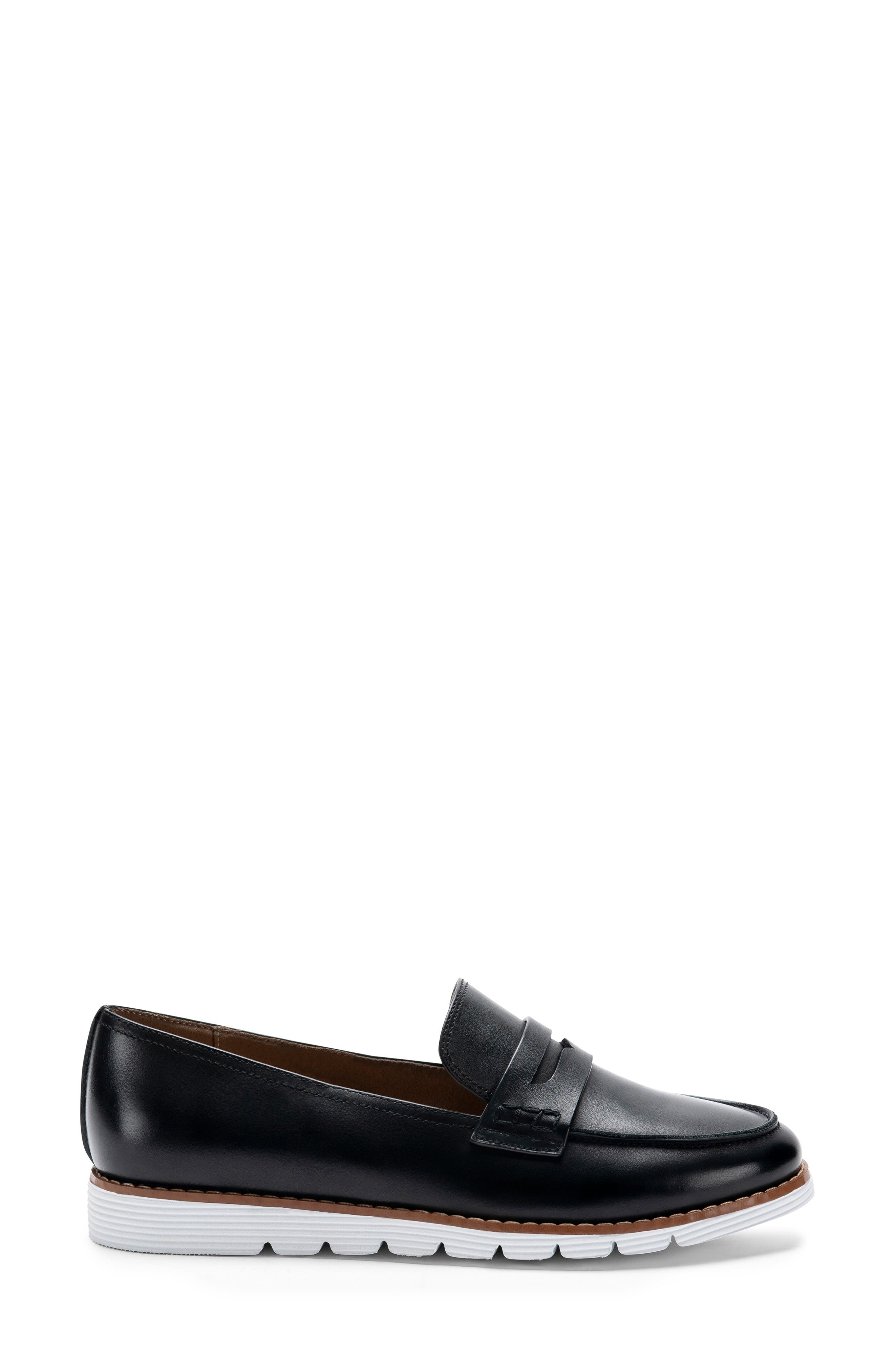 BLONDO, Waterproof Penny Loafer, Alternate thumbnail 3, color, BLACK LEATHER