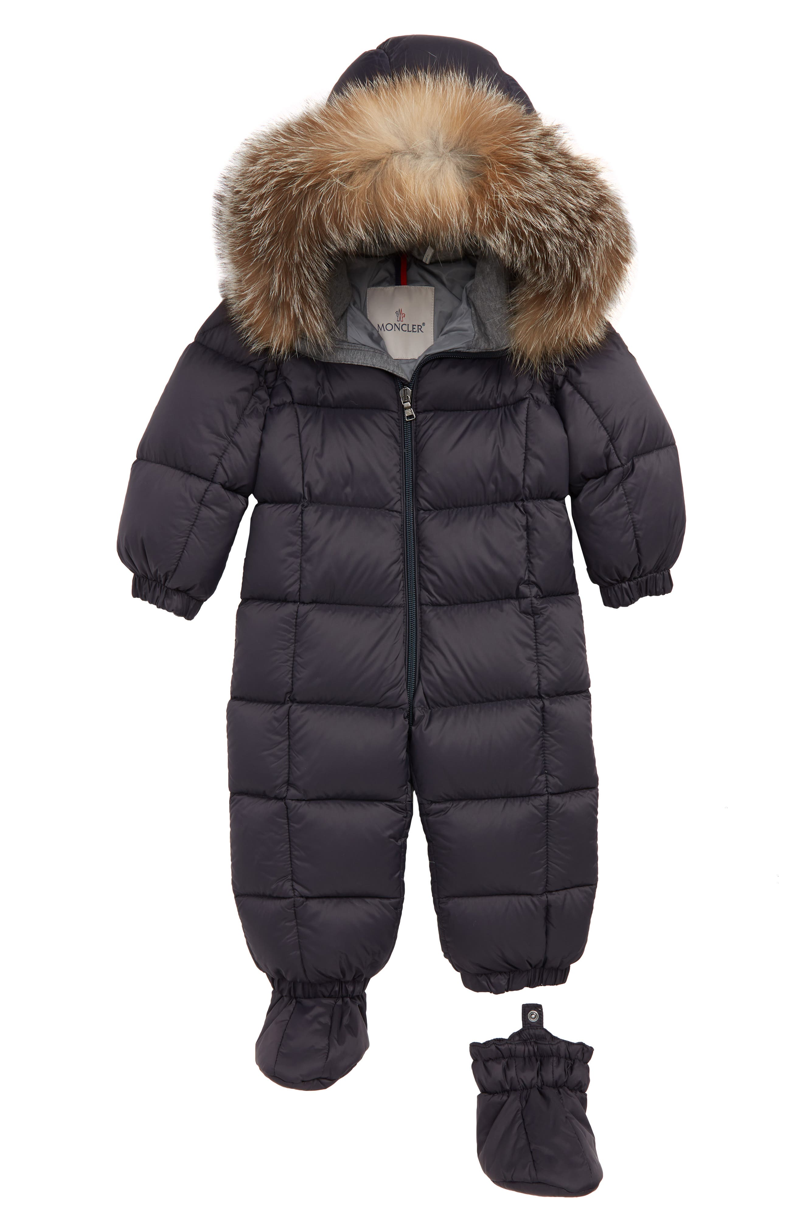 MONCLER, Jean Down Bunting with Genuine Fox Fur Trim, Main thumbnail 1, color, NAVY