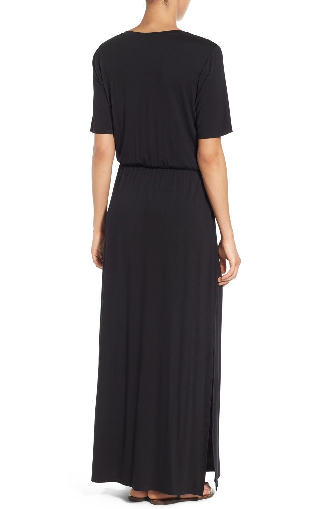 BOBEAU, Drawstring Waist Jersey Maxi Dress, Alternate thumbnail 4, color, 005