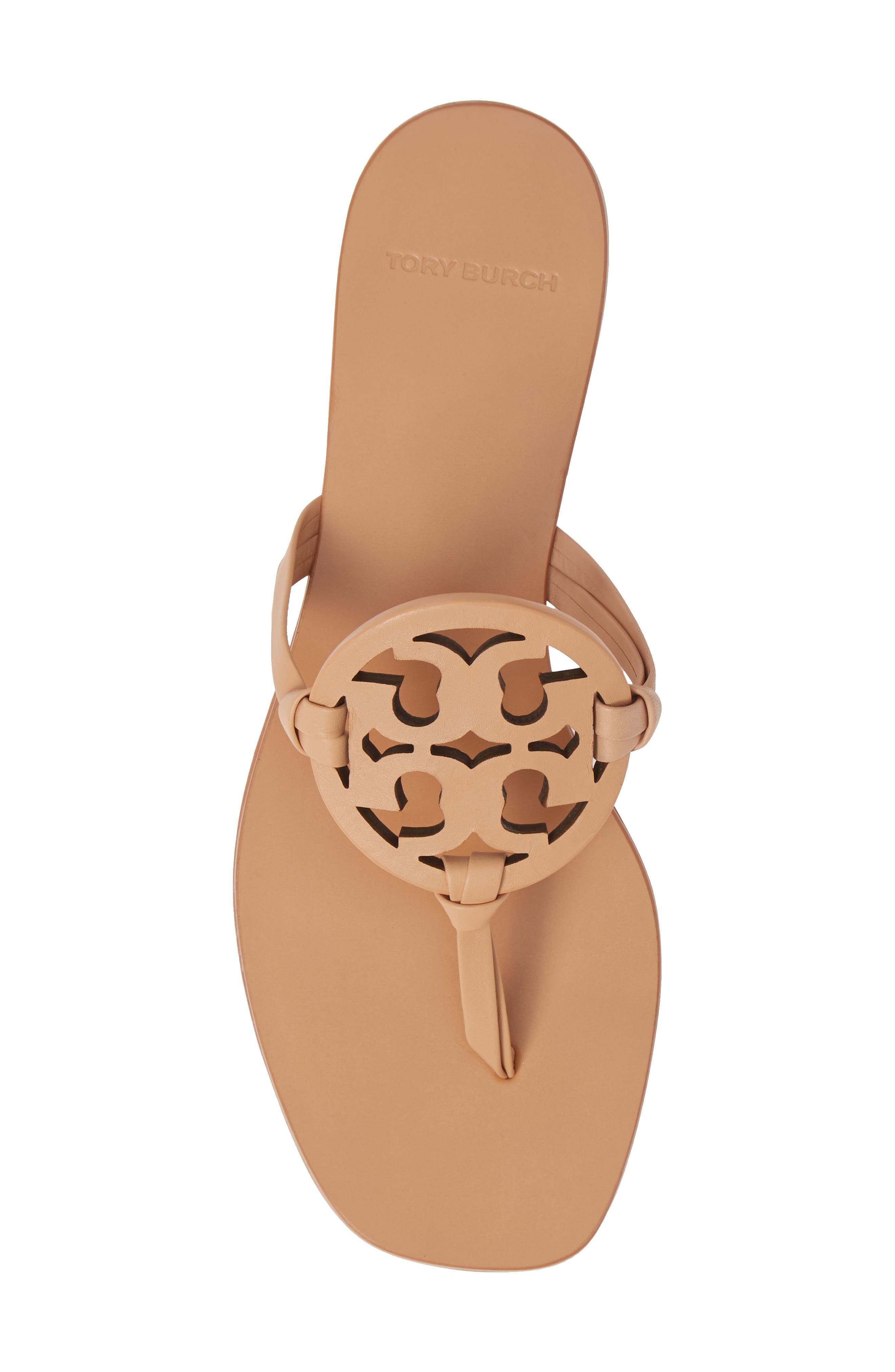 TORY BURCH, Miller Square Toe Thong Sandal, Alternate thumbnail 5, color, NATURAL VACHETTA