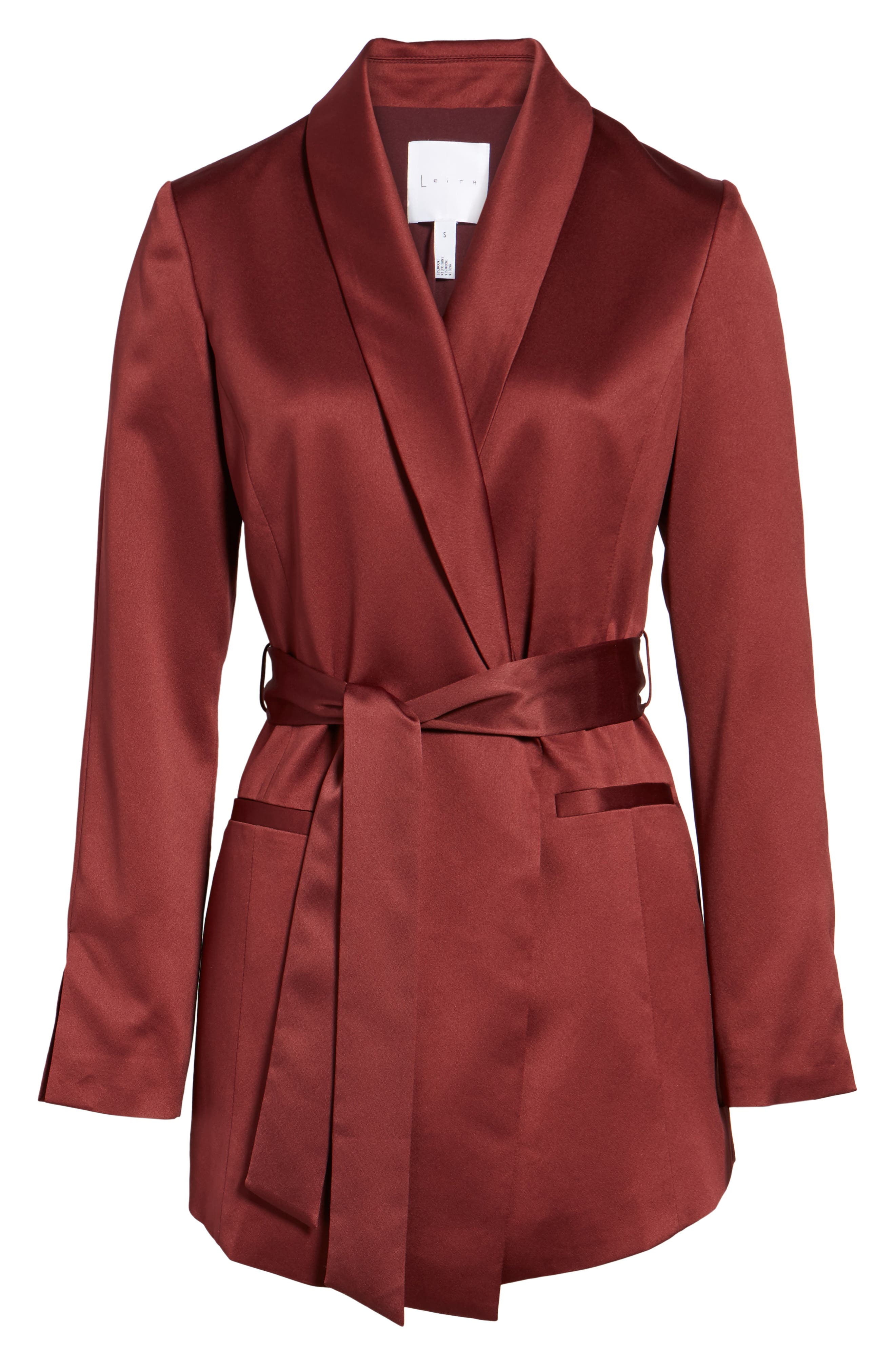 LEITH, Belted Satin Jacket, Alternate thumbnail 5, color, 601