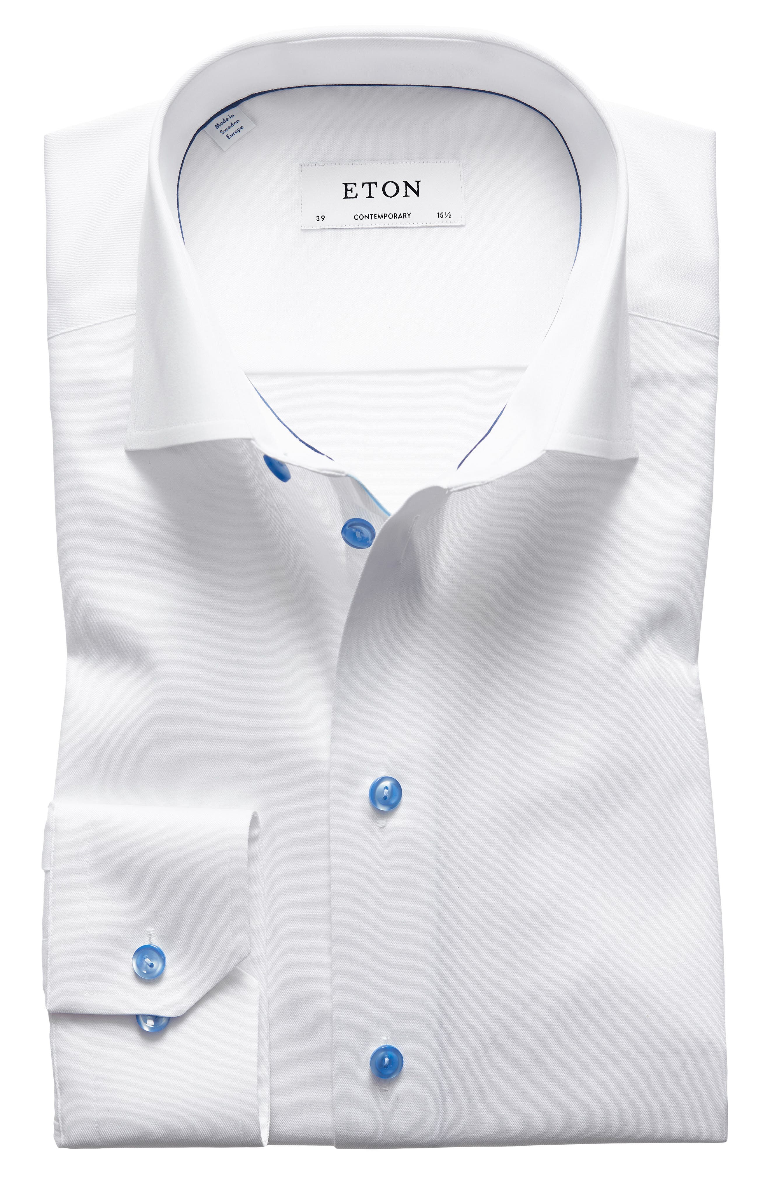 ETON, Contemporary Fit Twill Dress Shirt, Main thumbnail 1, color, WHITE/ BLUE