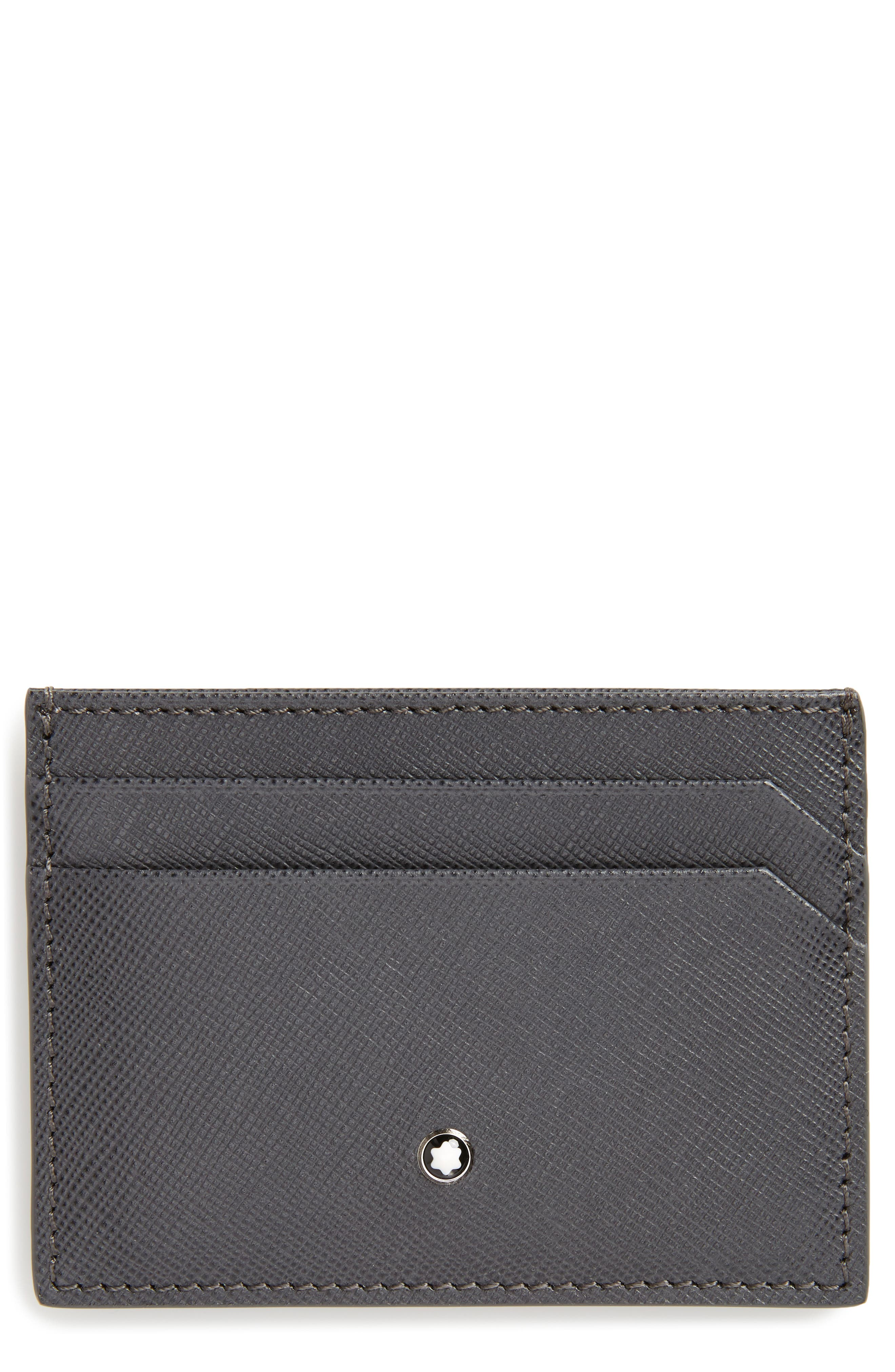 MONTBLANC Sartorial Leather Card Case, Main, color, DARK GREY